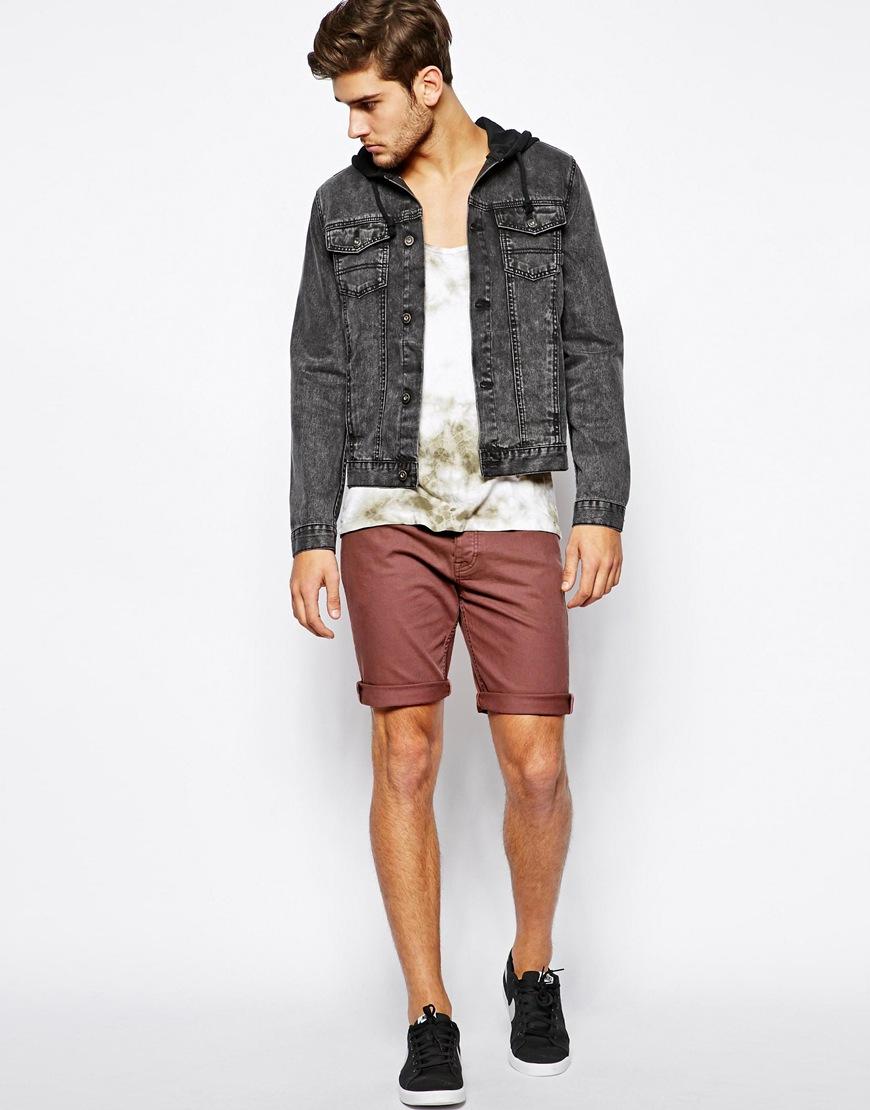 Asos Denim Shorts In Skinny Fit Mid Length in Pink for Men | Lyst