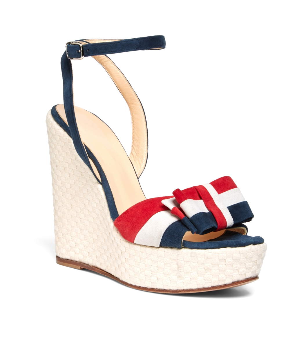 Brooks Brothers Suede Bow Wedge in Navy