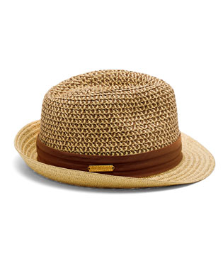 d52167047 Women's Brown Patterned Crown Straw Fedora