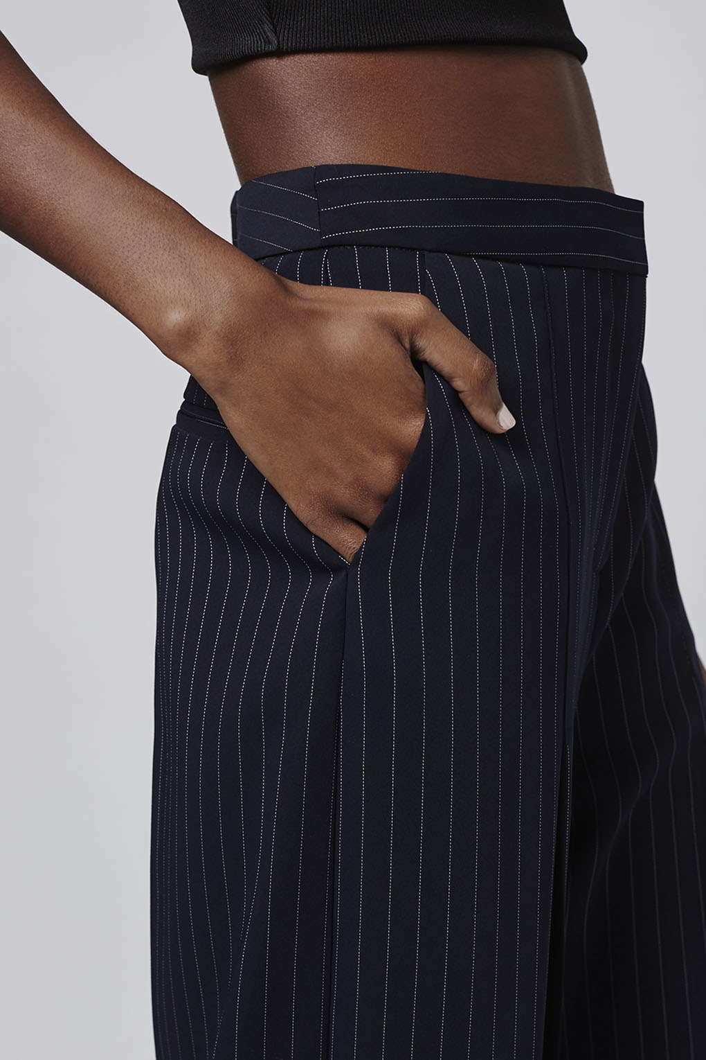 Topshop Wide Pinstripe Cropped Trousers In Navy Blue Blue