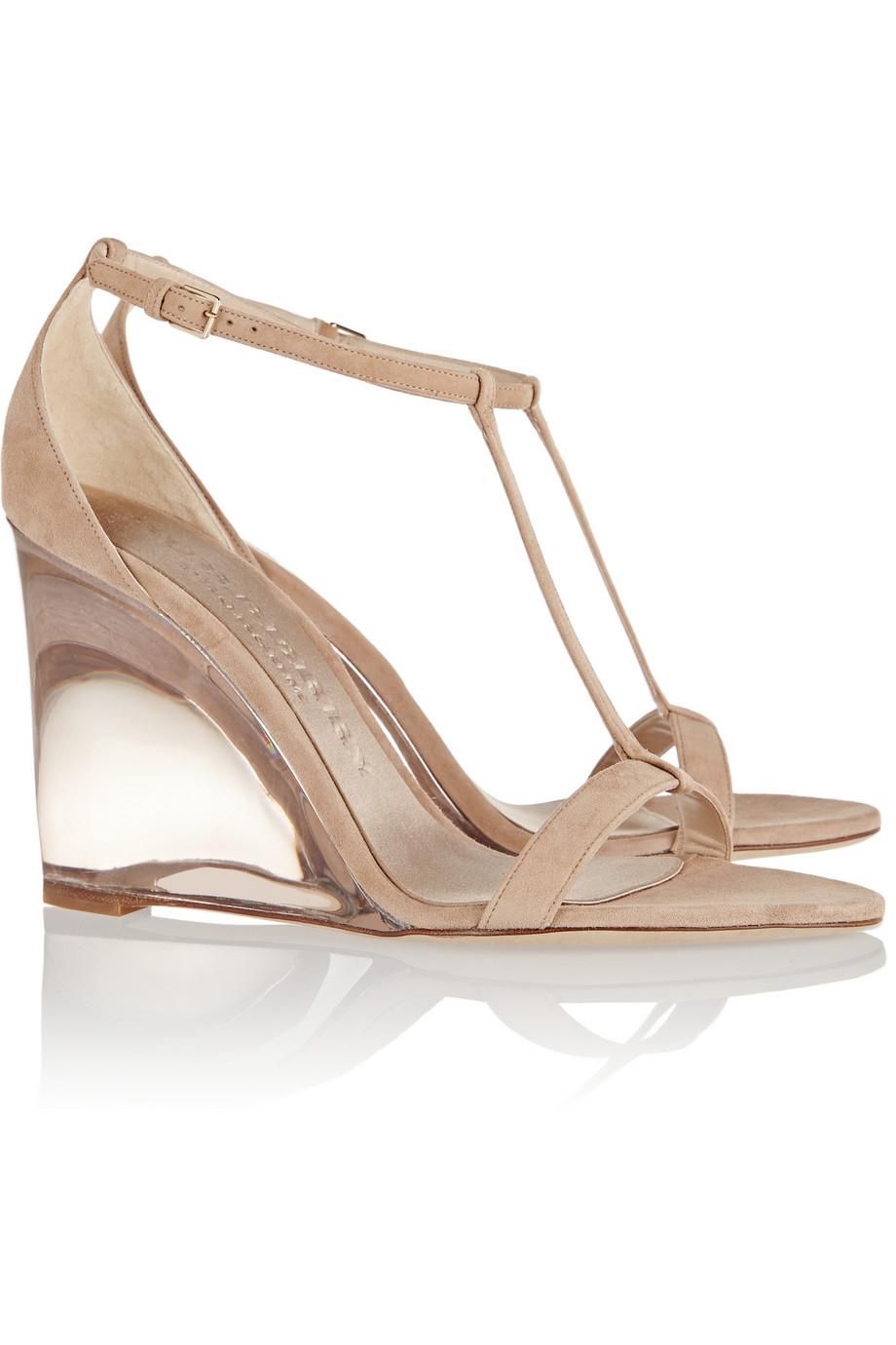 burberry prorsum leyburn suede wedge sandals in beige lyst