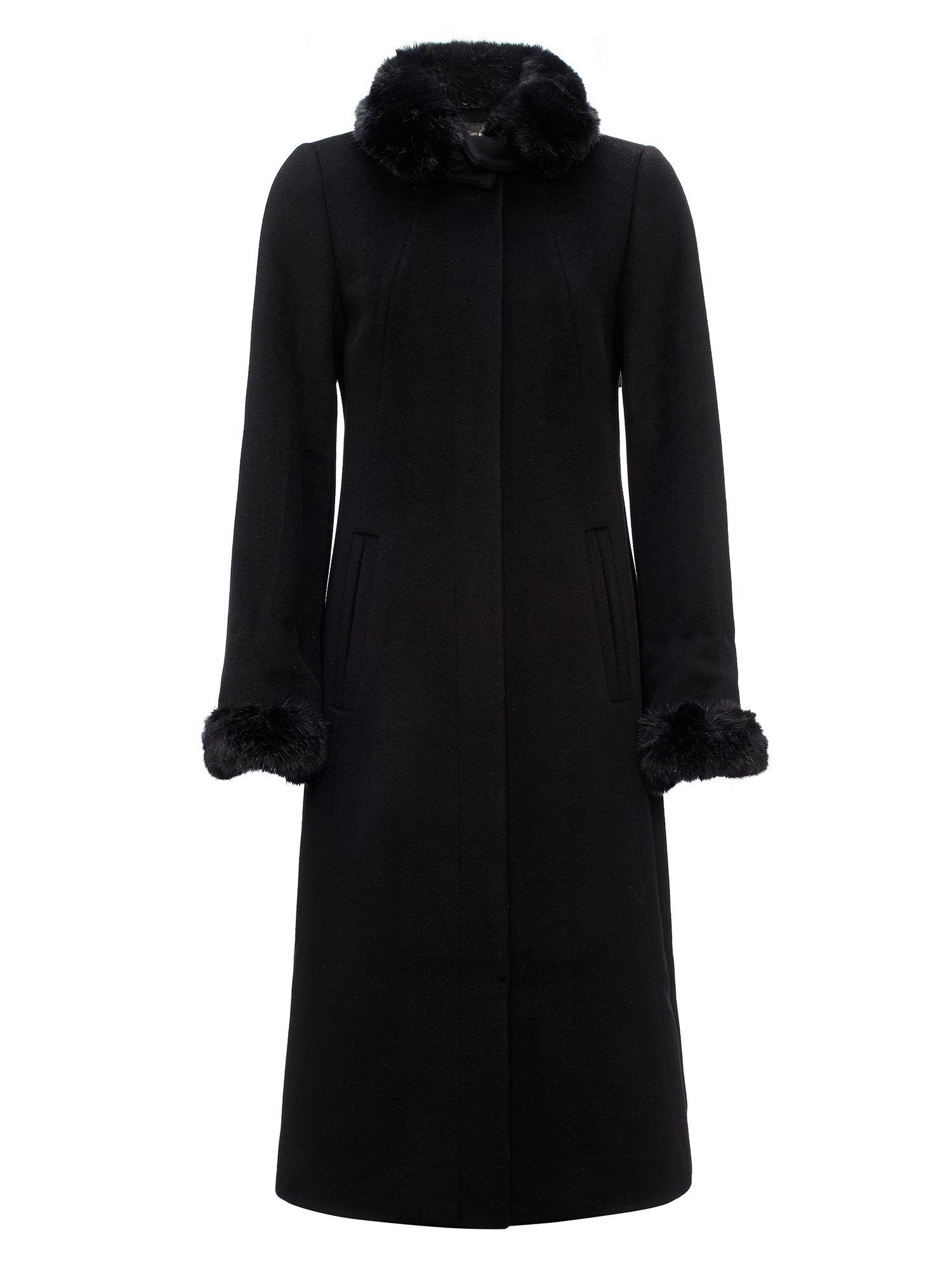 jaeger long length fur trim coat in black lyst