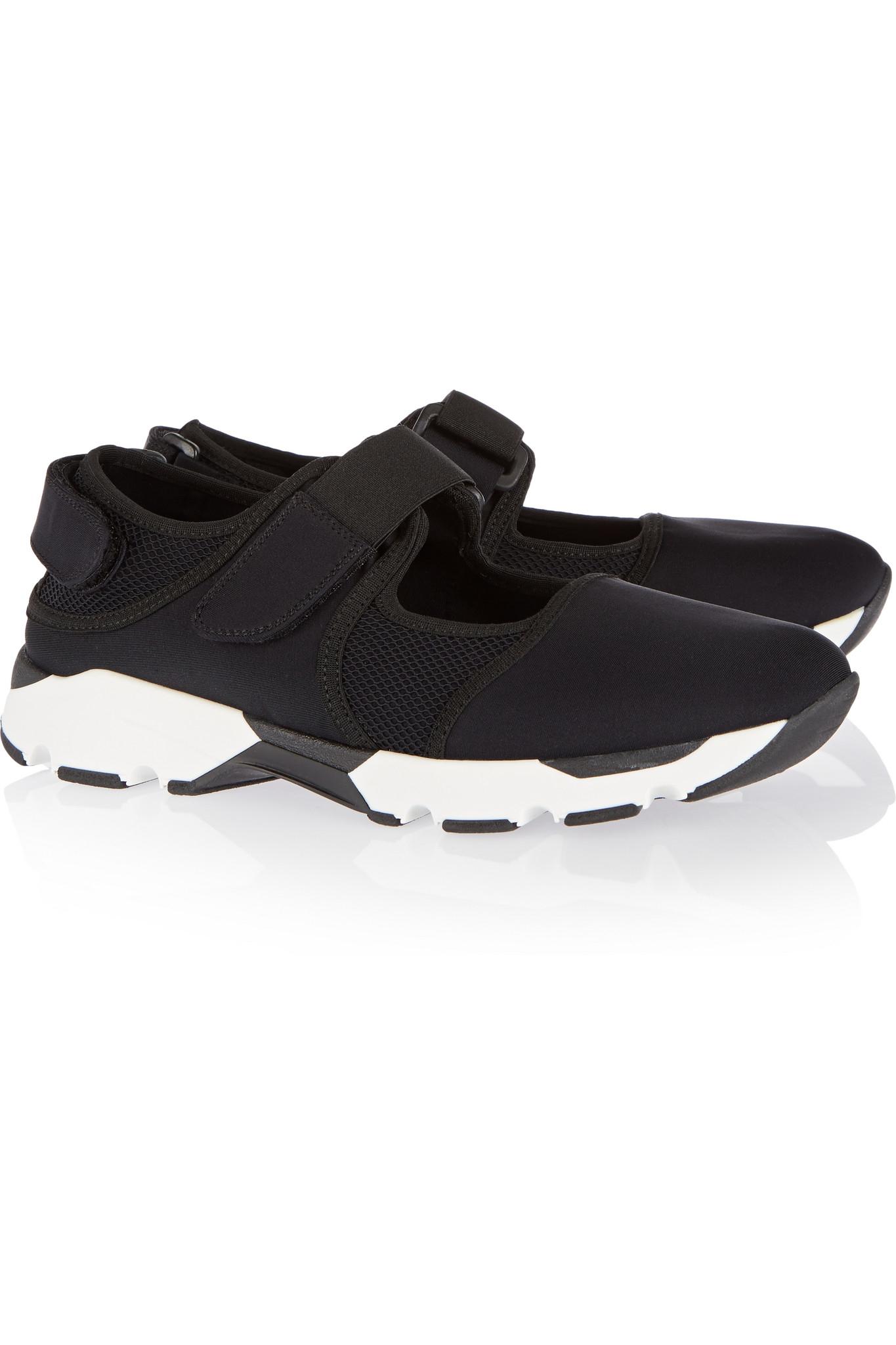 Marni Paneled Neoprene And Mesh Sneakers in Black