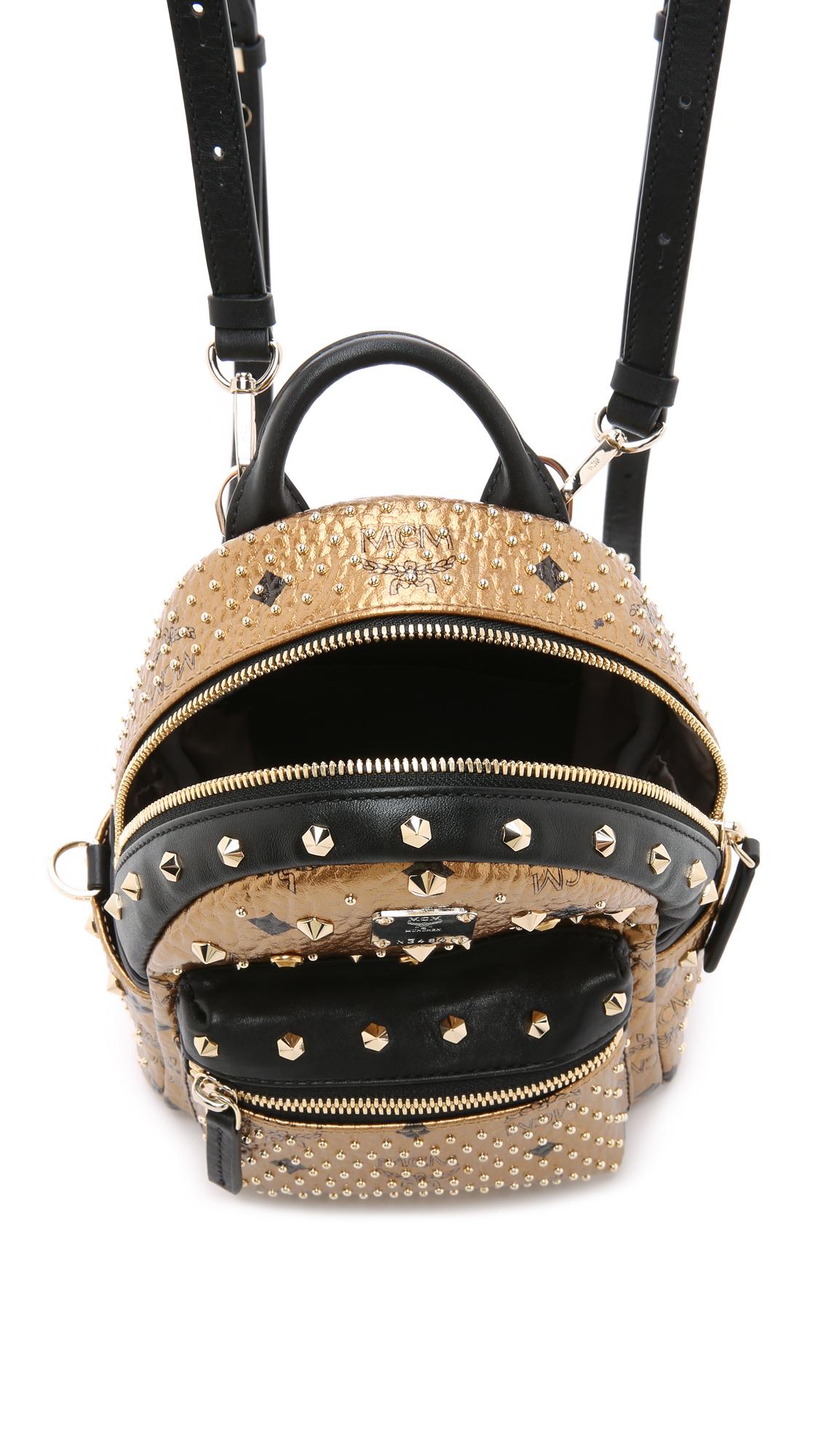 Mcm Crystal Stud Baby Stark Backpack Gold In Metallic Lyst