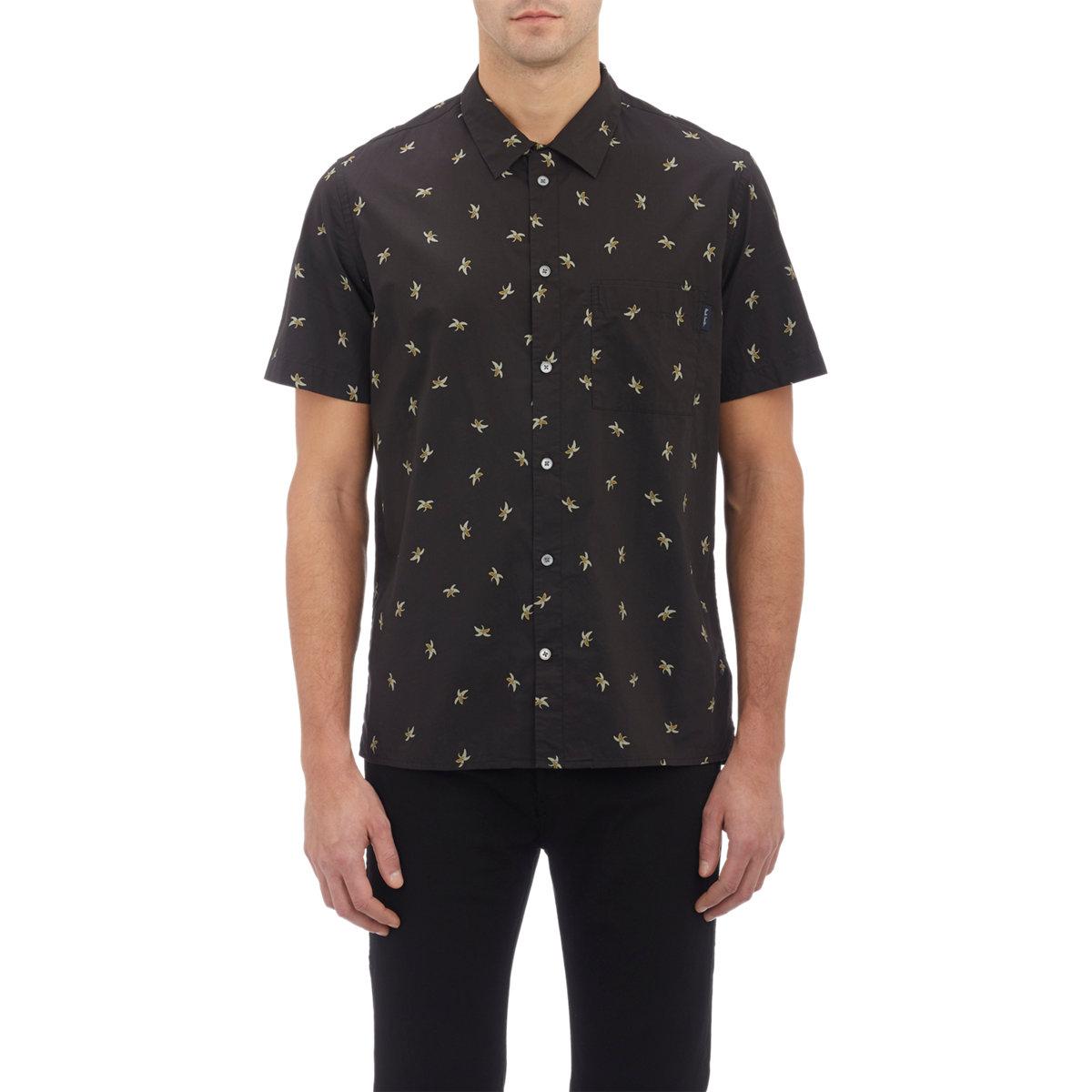 Paul Smith Banana Print Short Sleeve Shirt In Black For
