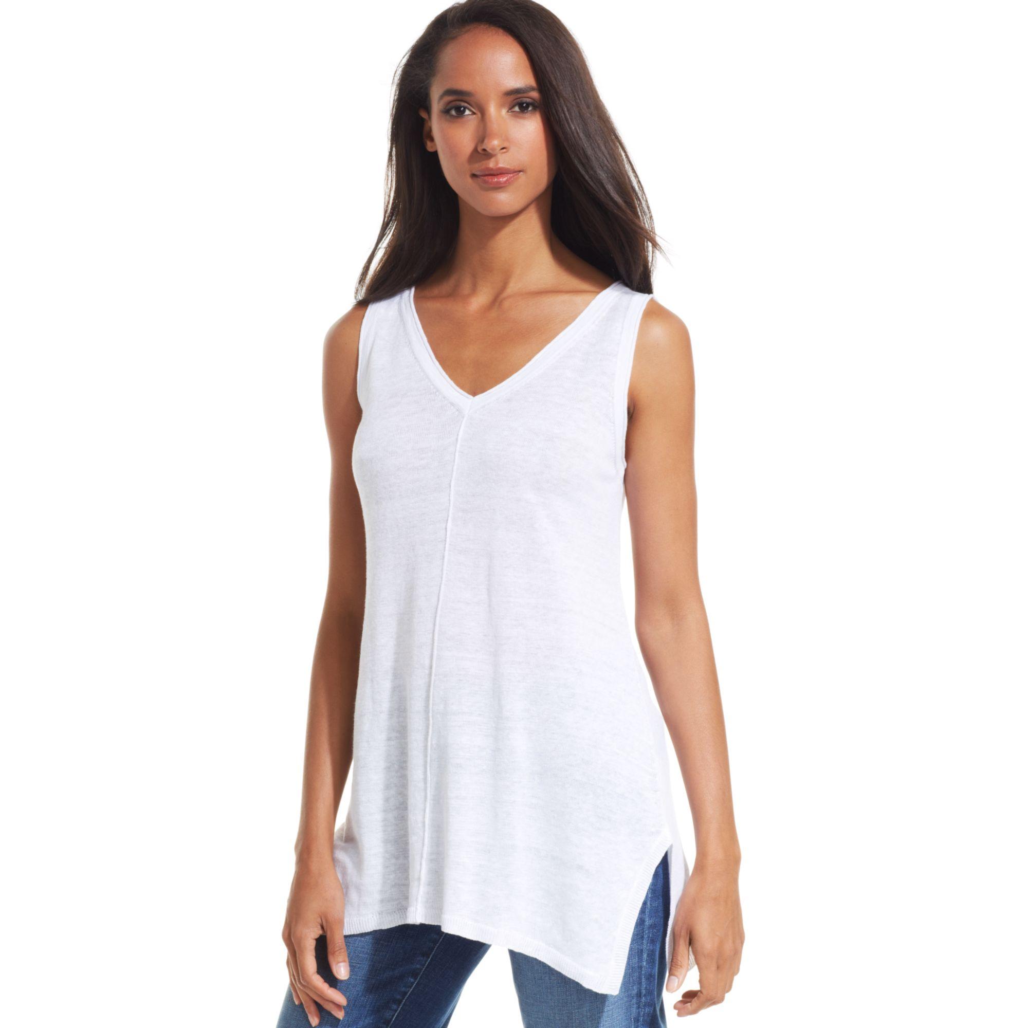 Lyst Eileen Fisher Sleeveless Vneck Linen Tunic In White