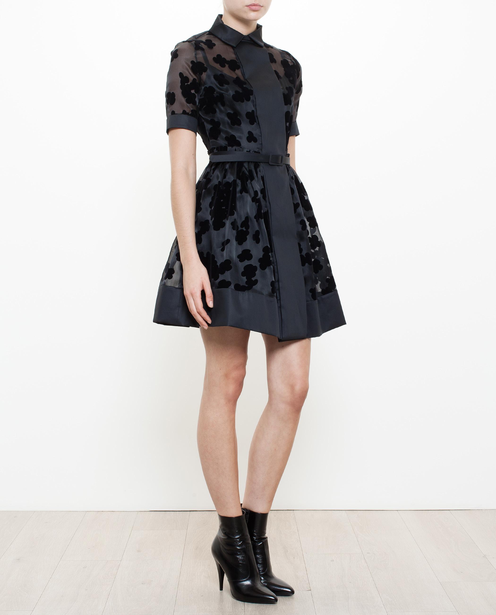 Lyst - Carven Floral Organza Dress in Black