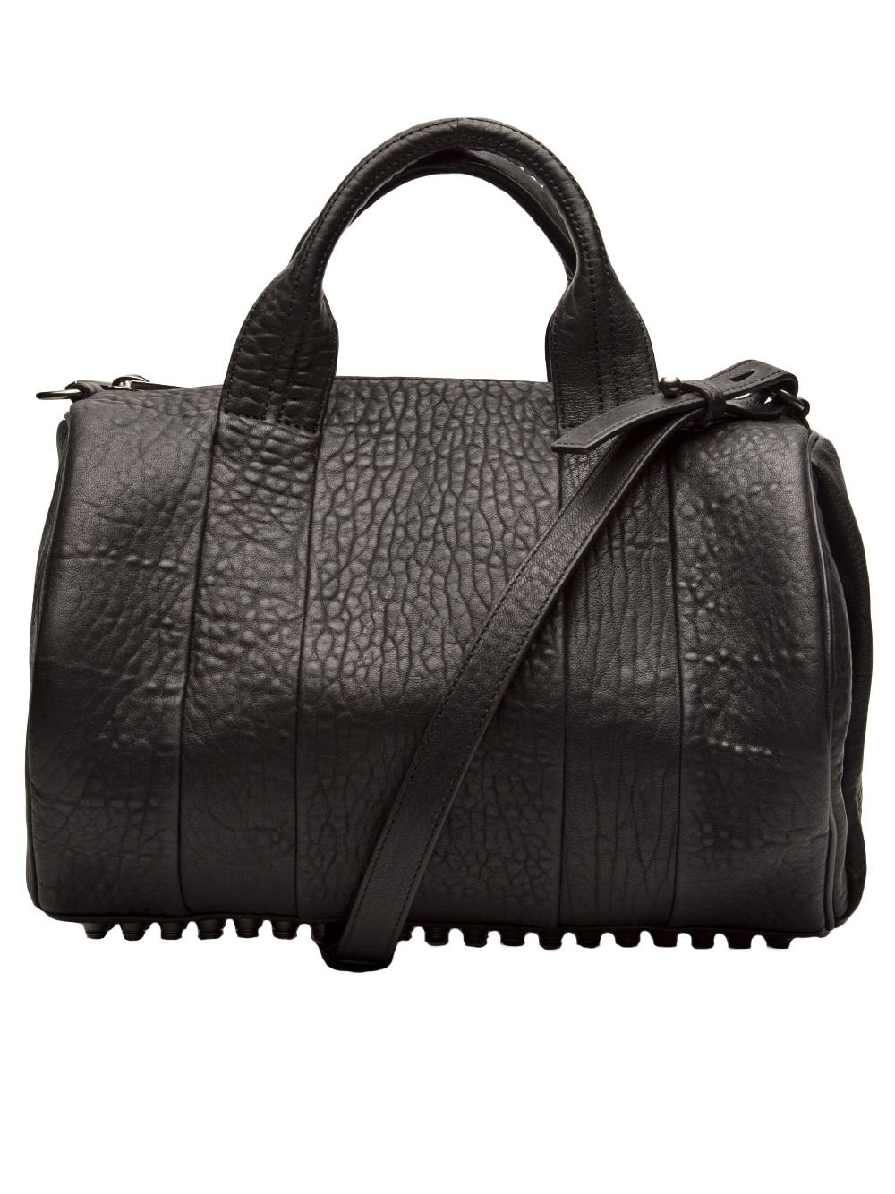 lyst alexander wang rocco dumbo stud bottom satchel bag. Black Bedroom Furniture Sets. Home Design Ideas