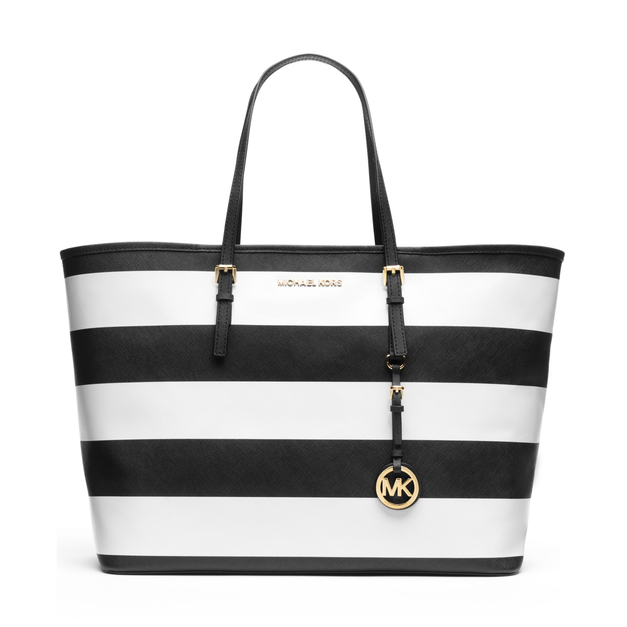 589365f2d23d ... italy lyst michael kors michael jet set medium stripe travel tote in  black 18c17 61bed