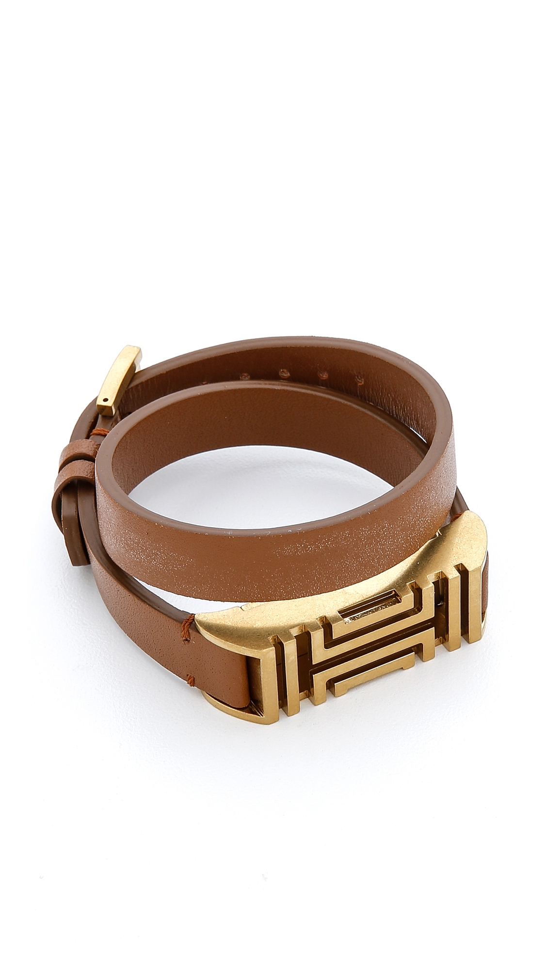 9bcf0acdc74 Lyst - Tory Burch For Fitbit Fret Double Wrap Bracelet - Bark Aged ...