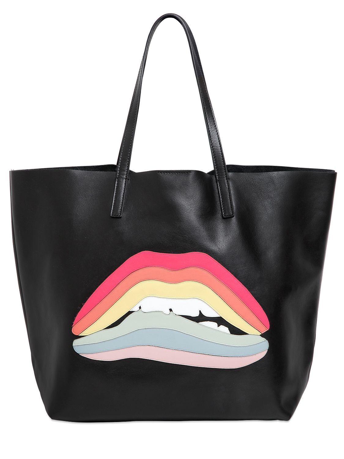 3a07fb0c8b71 RED Valentino Black Rainbow Lips Patch Leather Top Handle