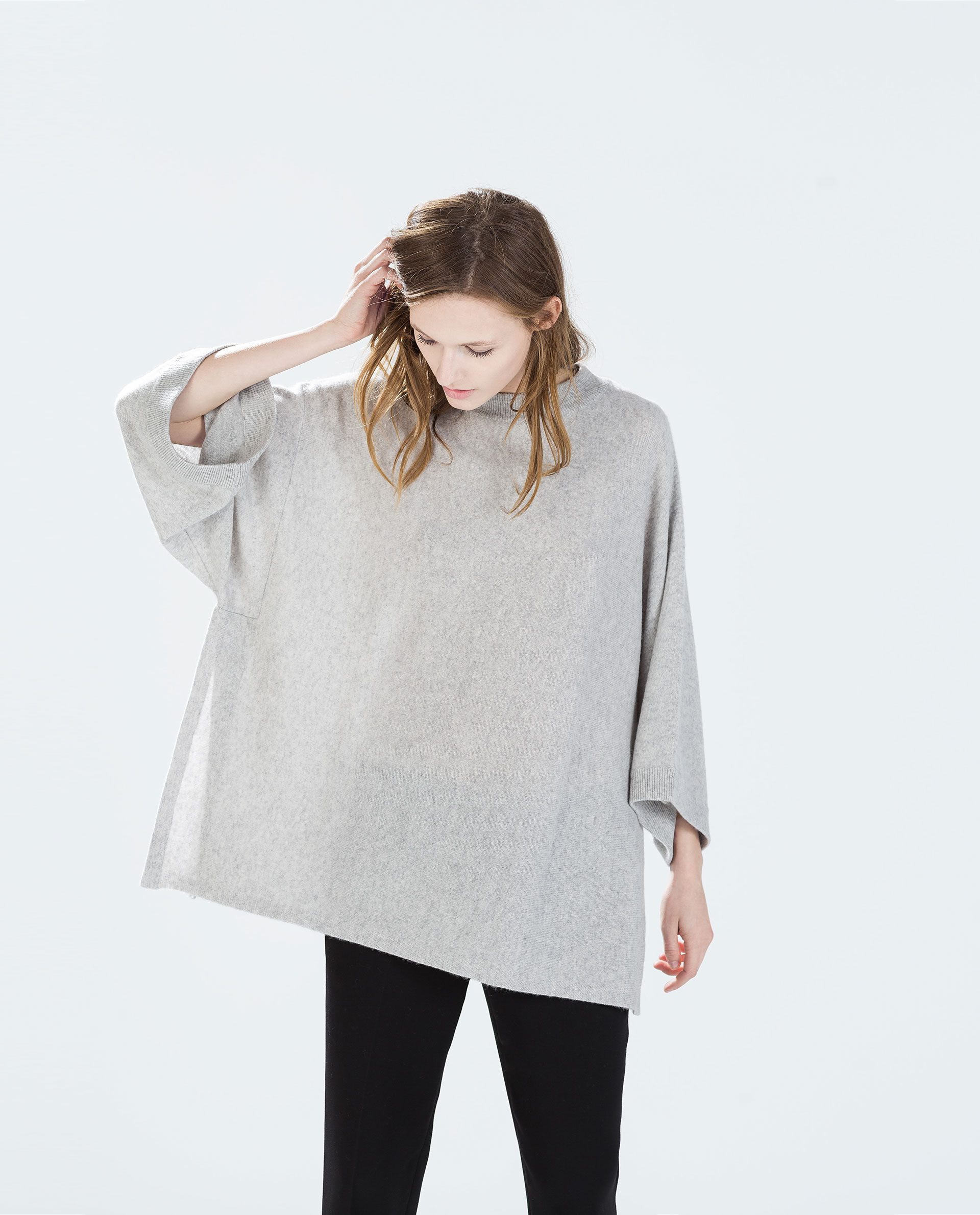 Zara Cashmere Poncho With Side Slits In Gray Light Grey