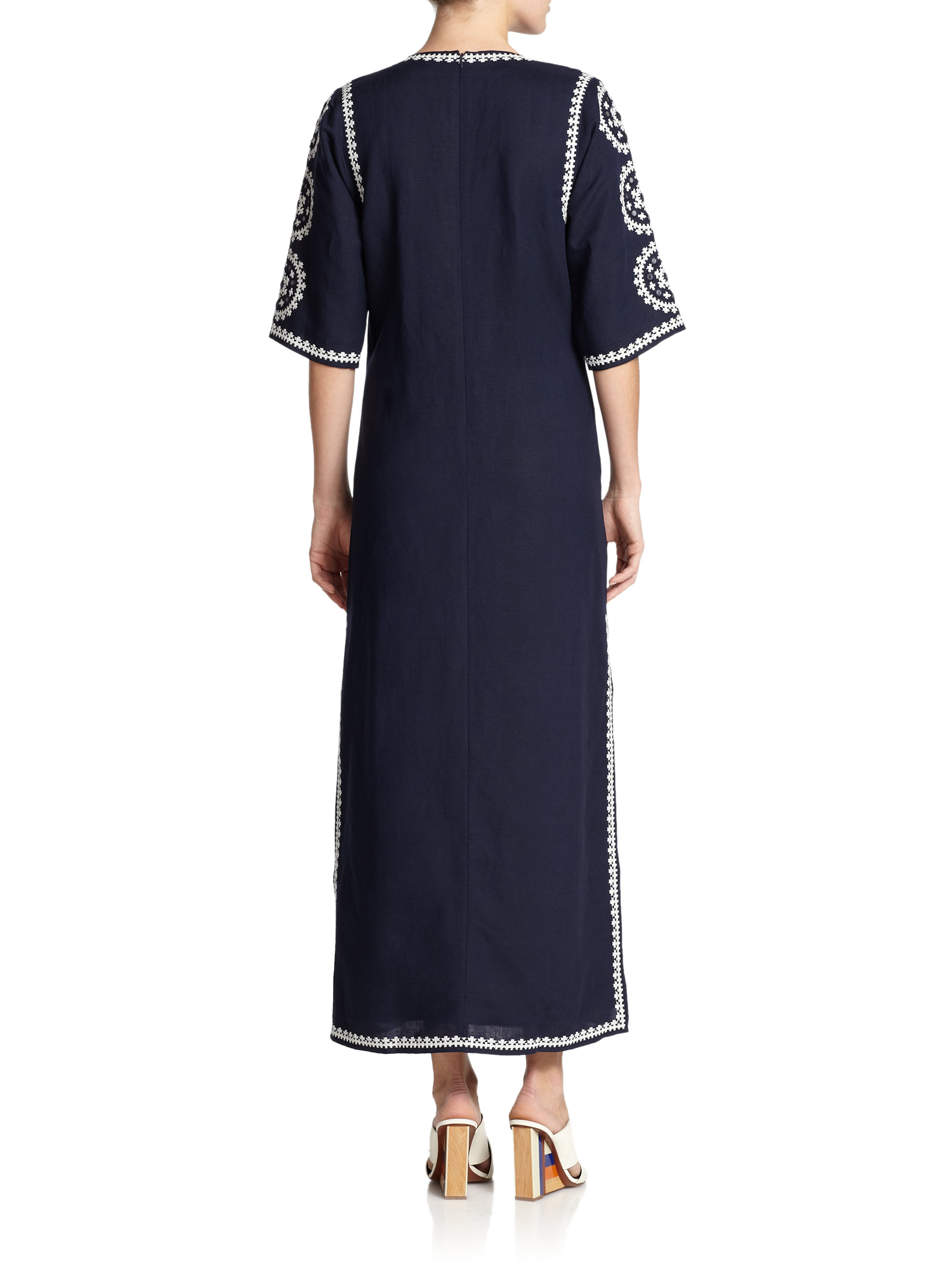 Lyst tory burch embroidered tunic dress in blue for Tory burch fashion island