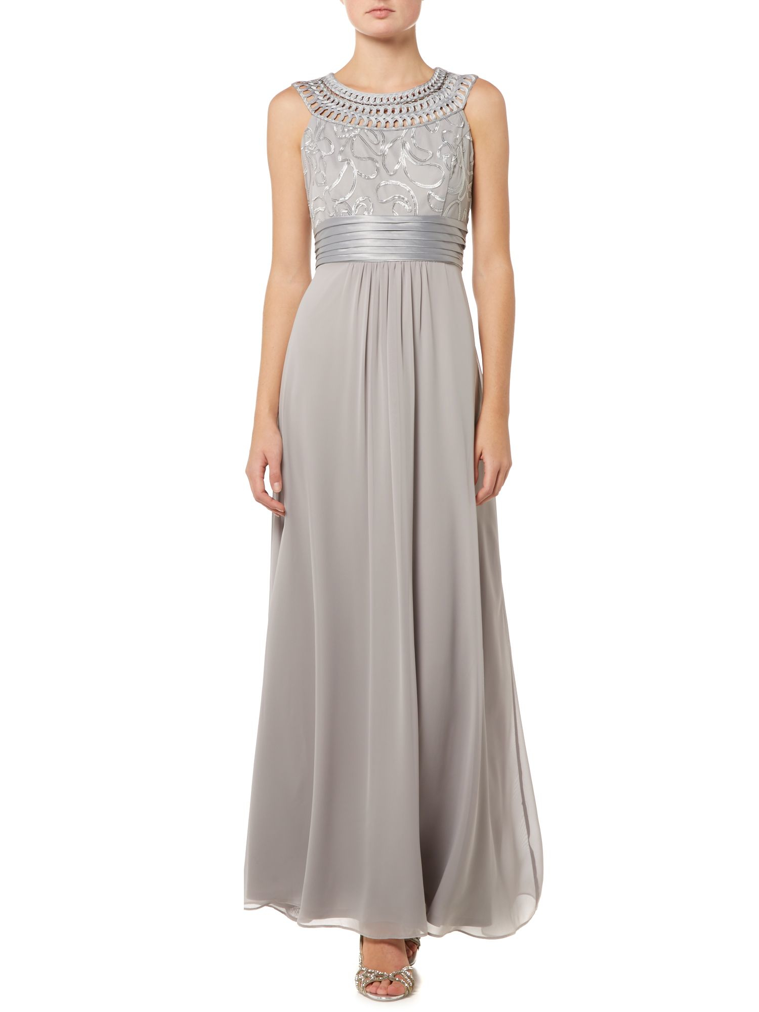Eliza j halter style gown with embroidered neckline in