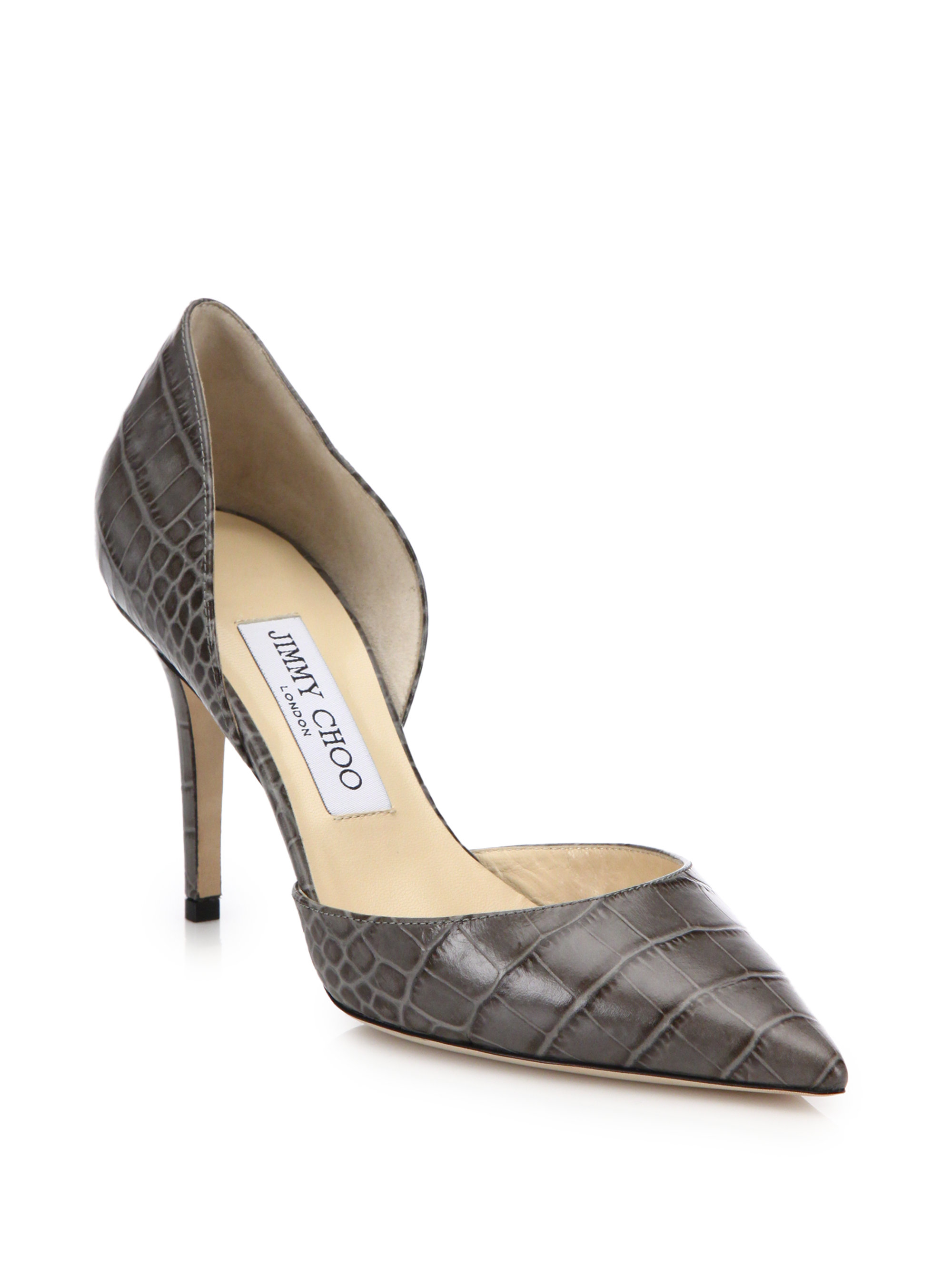 Women S Leather Pump Shoes In Grey