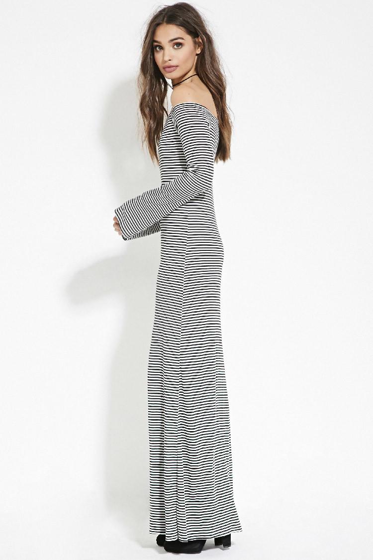 lyst forever 21 stripe offtheshoulder dress in black