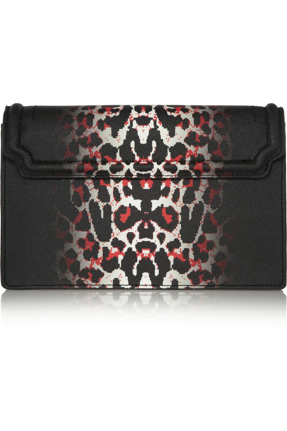 5871ea78c0d9 Lyst - McQ Simple Fold Leopard-Print Textured-Leather Shoulder Bag ...