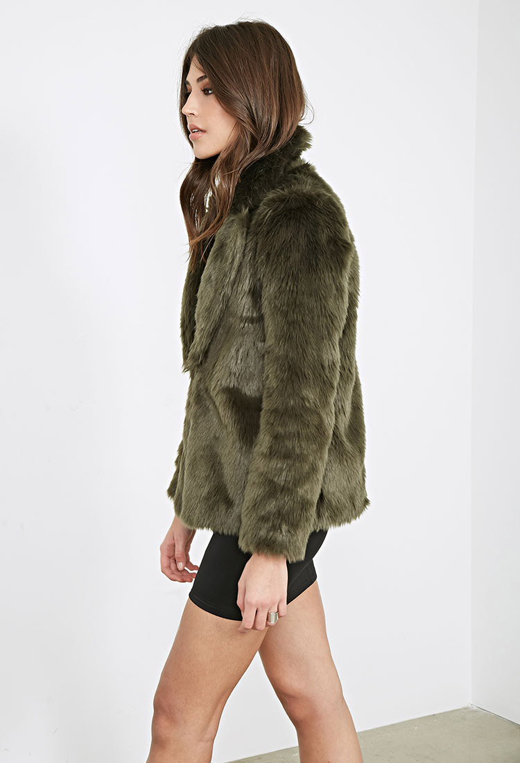 Forever 21 Collared Luxe Faux Fur Jacket In Green Lyst