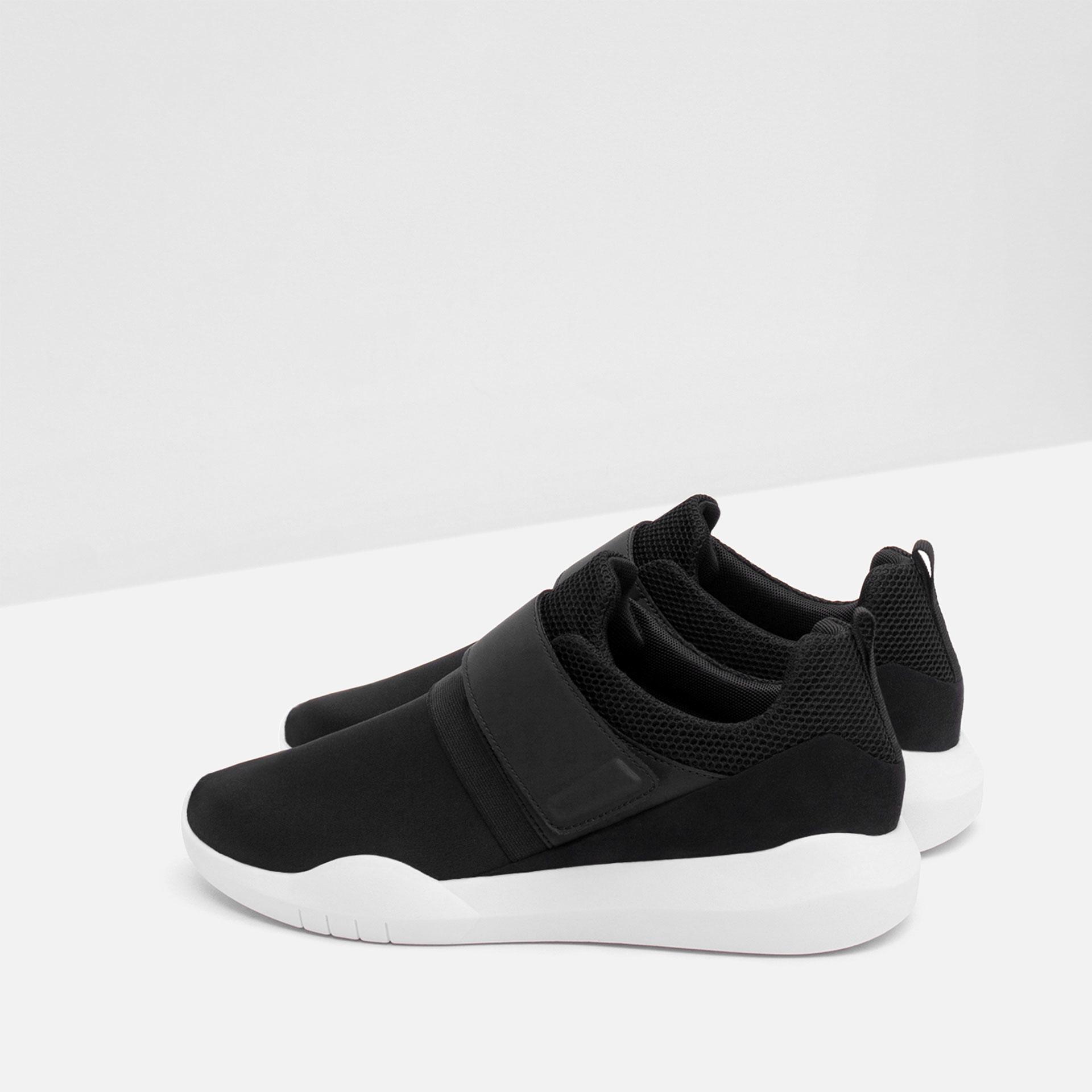 Zara Hook And Loop Low Top Sneakers In Black For Men Lyst