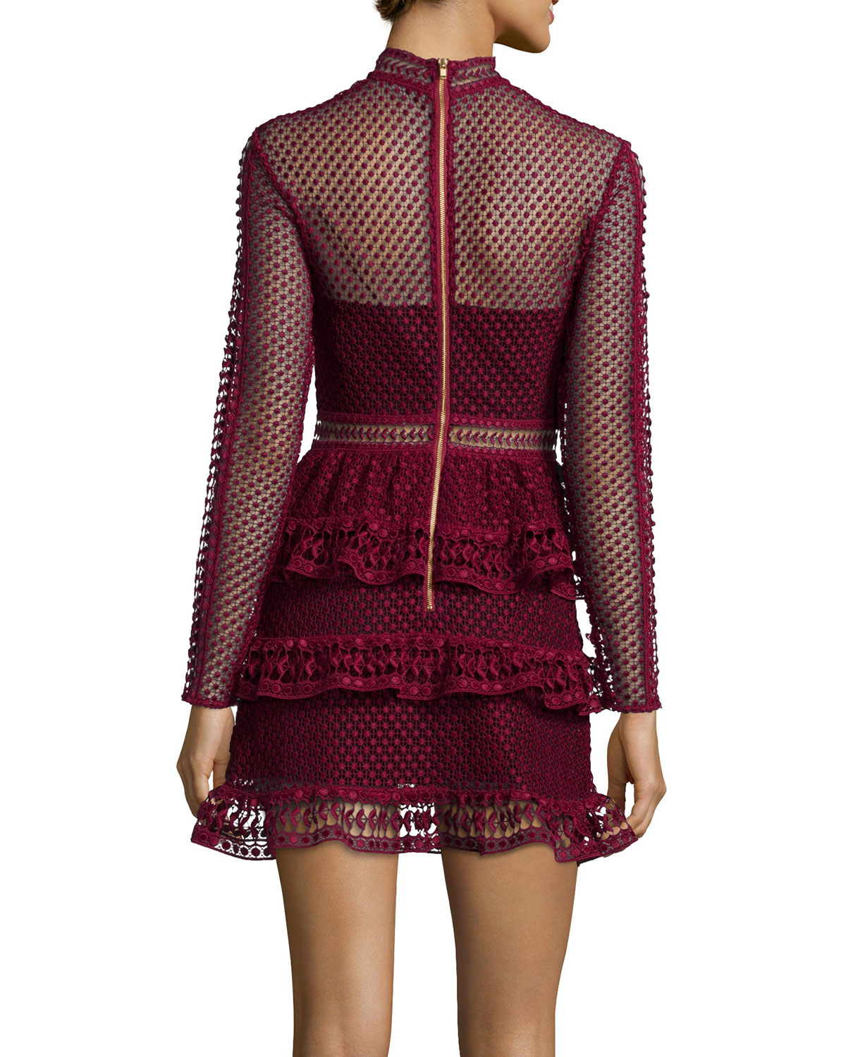 Lyst Self Portrait Long Sleeve Tiered Lace Dress In Purple