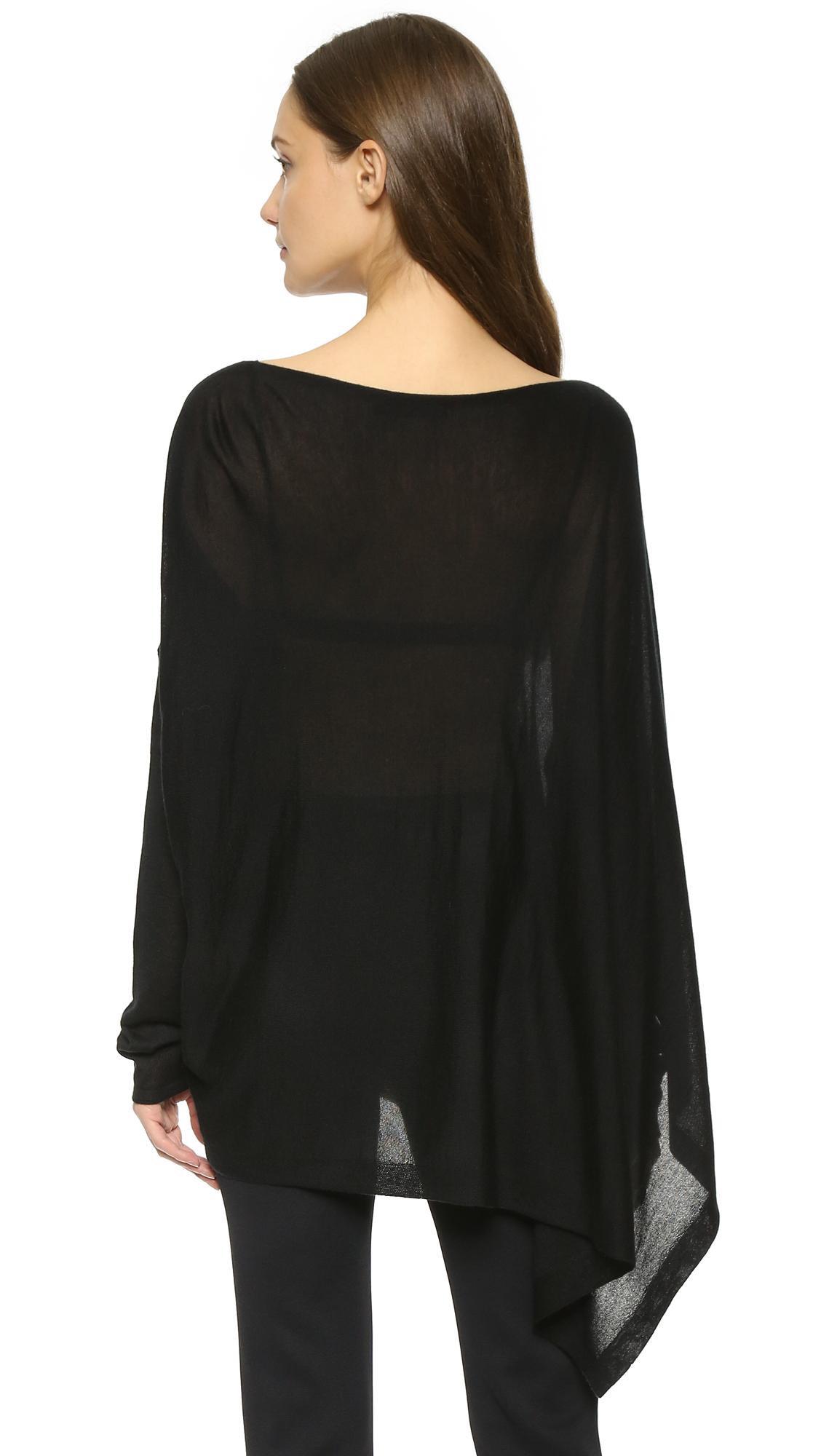 lyst donna karan cashmere poncho top black in black. Black Bedroom Furniture Sets. Home Design Ideas