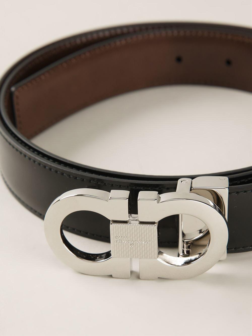 Ferragamo Gancini Buckle Belt in Black for Men - Lyst