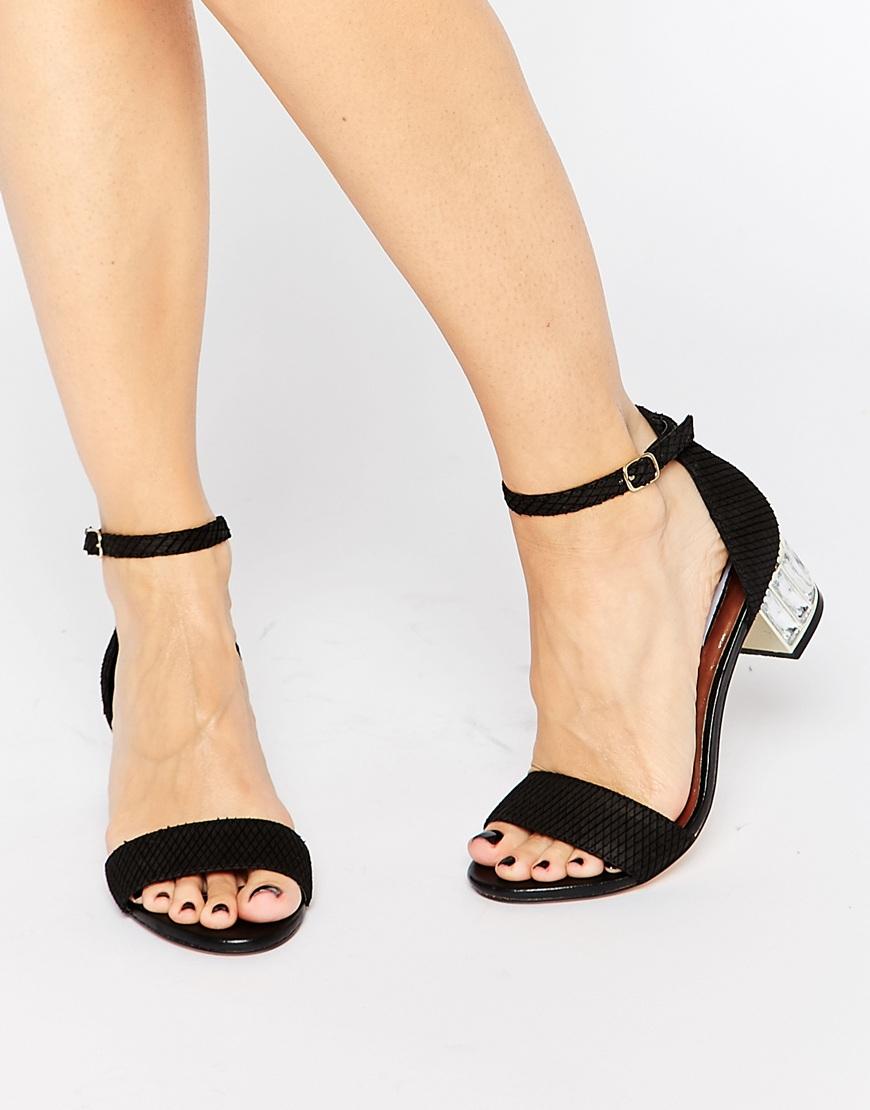 f5af9c4444969b Lyst - Dune Marcee Black Gem Mid Heeled Sandals in Black