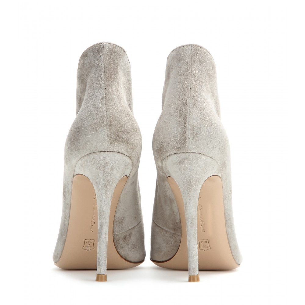 54d92ad0786 Gianvito Rossi Gray Vamp Suede Peep-toe Ankle Boots