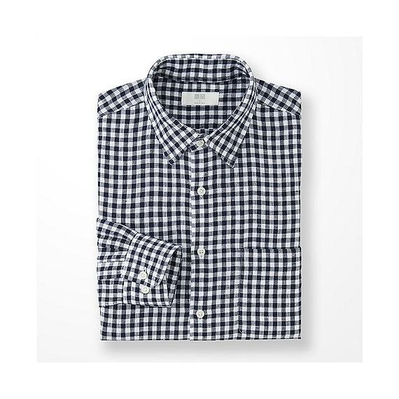 Uniqlo premium linen check long sleeve shirt in blue for for Uniqlo premium t shirt