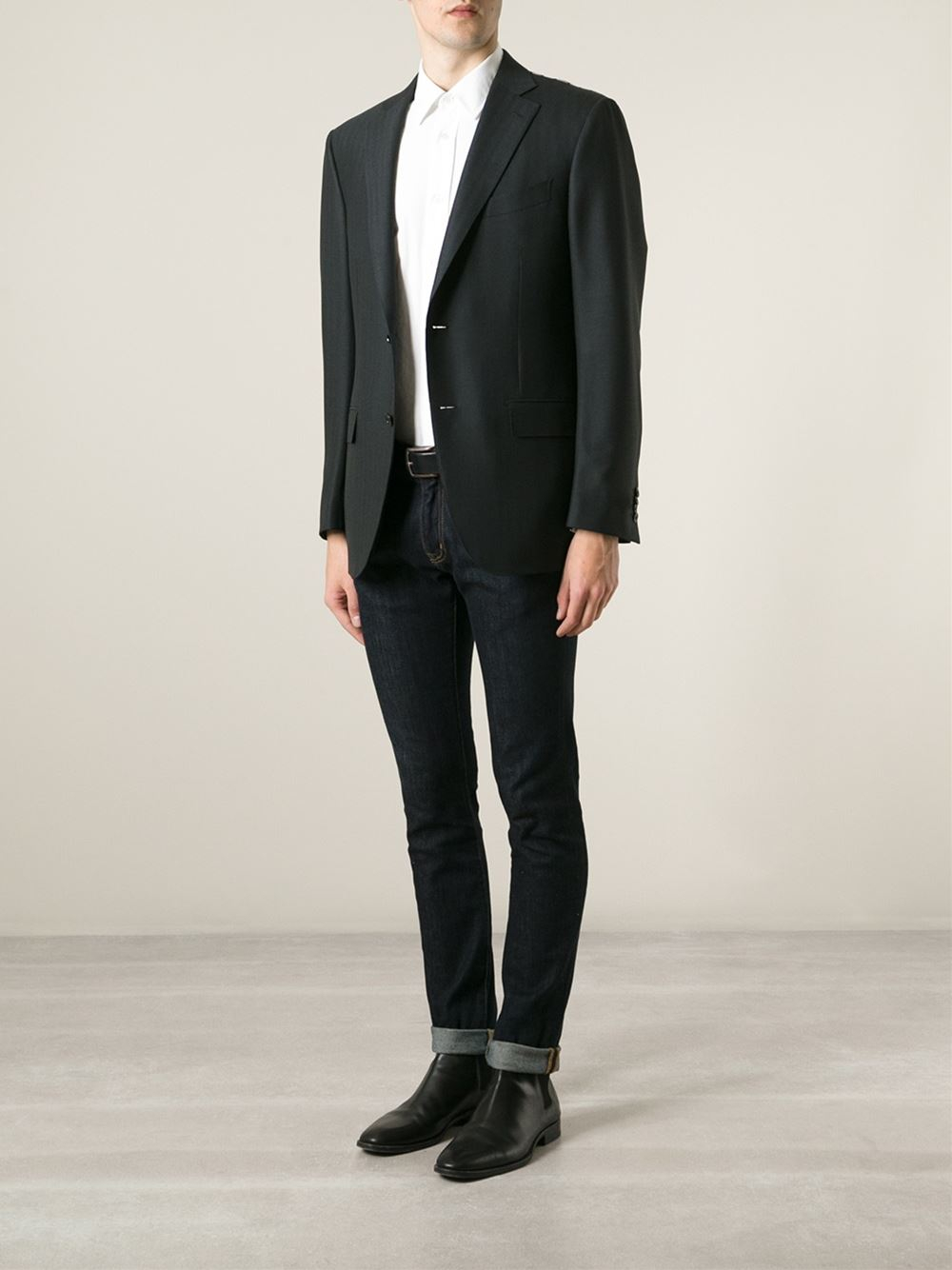 Ermenegildo zegna Herringbone Blazer in Black for Men   Lyst