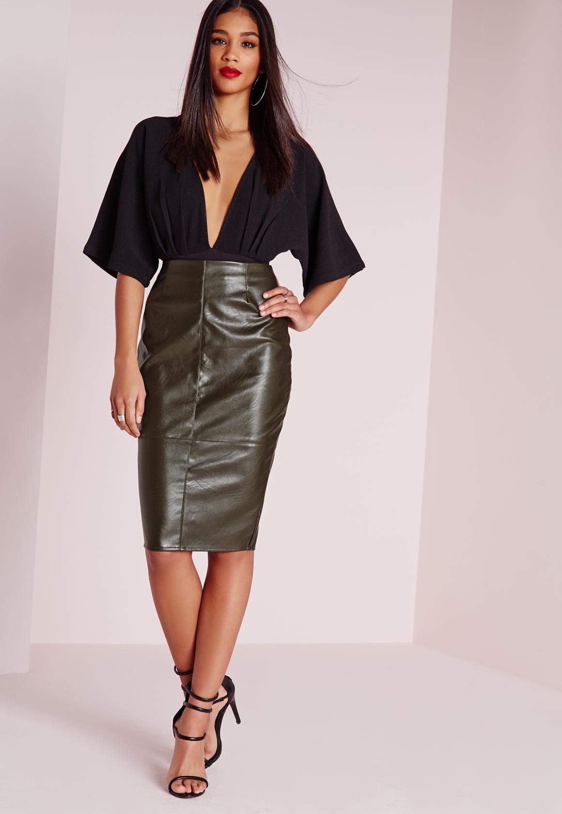 6b393c5ed4 Missguided Faux Leather Seam Detail Midi Skirt Khaki in Natural - Lyst
