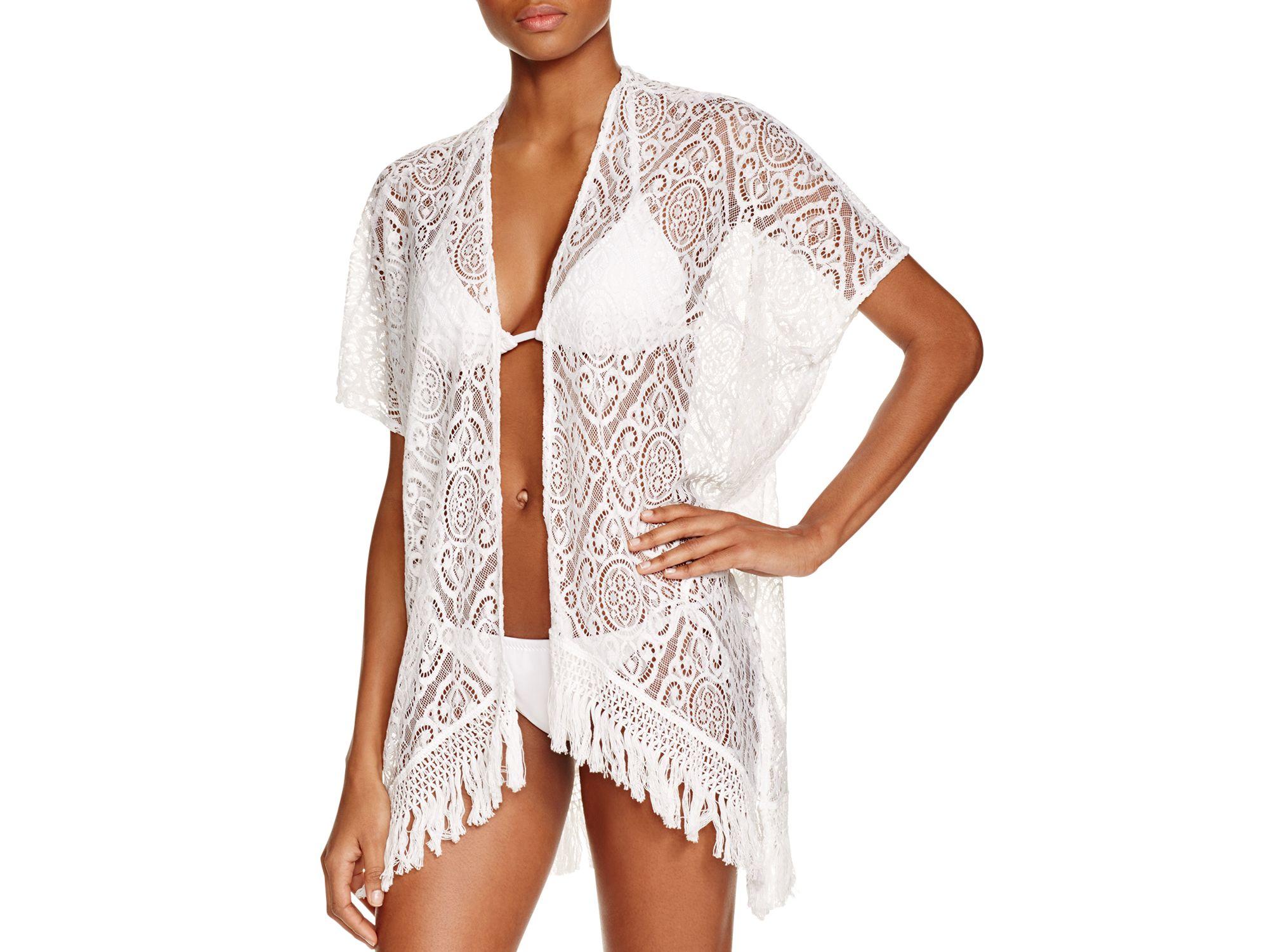 Becca Amore Lace Kimono Swim Cover Up In White Lyst