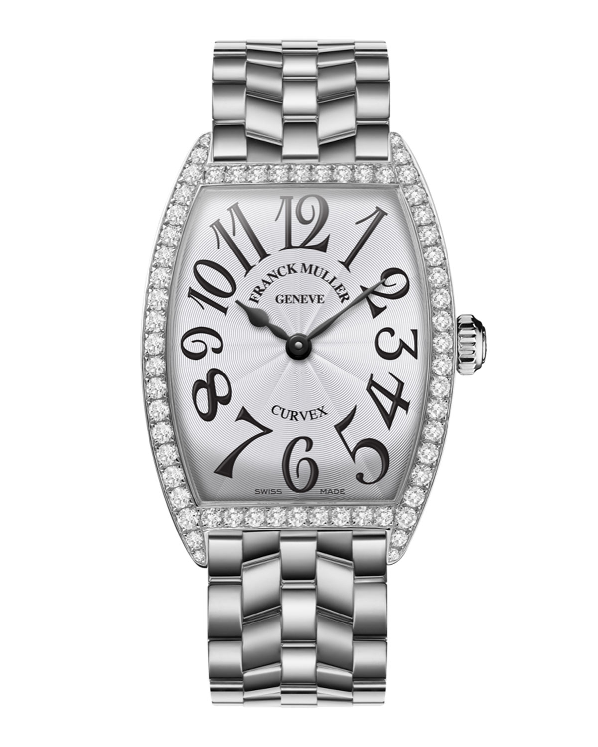 Lyst franck muller ladies curves stainless steel diamond watch in metallic for Franck muller watches