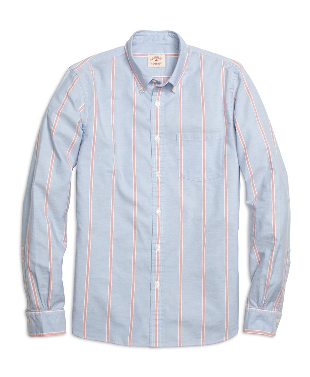Brooks brothers wide frame stripe sport shirt in blue for for Brooks brothers sports shirts
