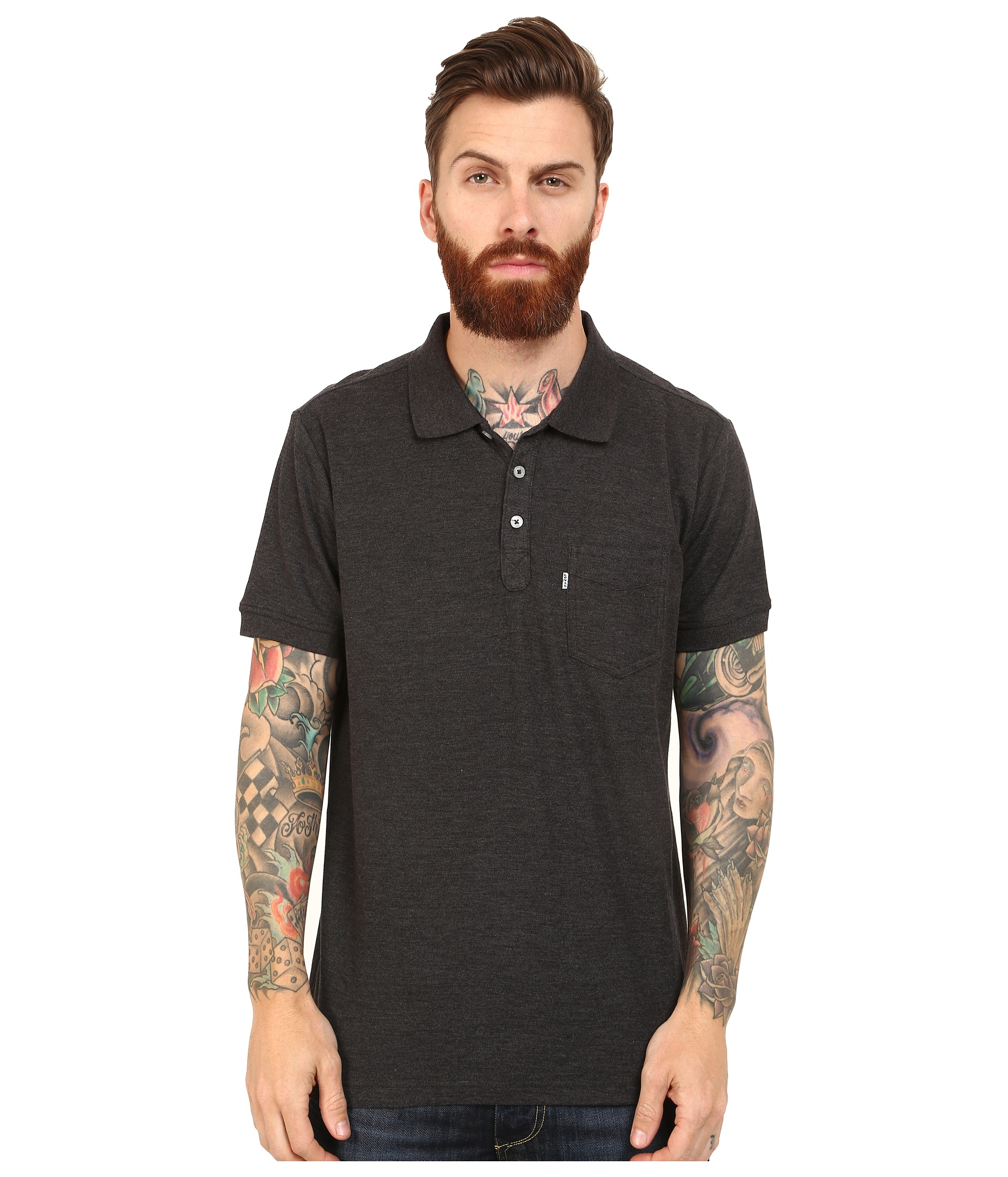 Levi 39 s rillo pique polo shirt in black for men lyst for Mens black levi shirt
