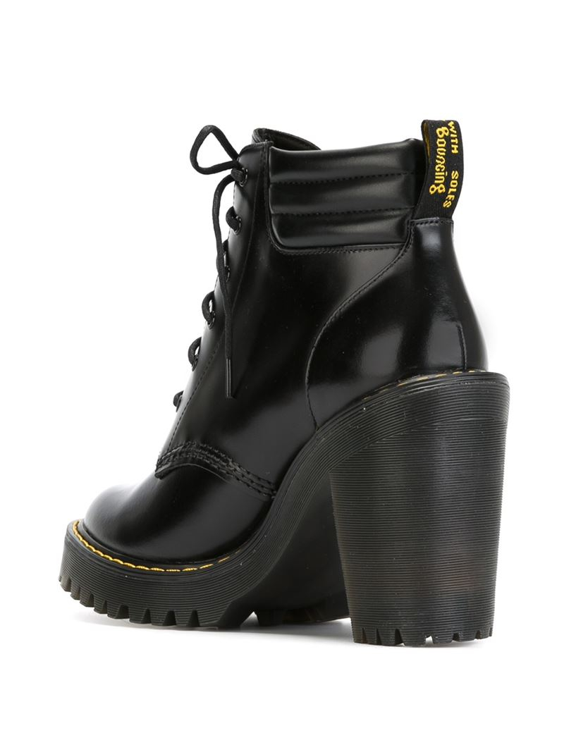 dr martens chunky heel lace up leather boots in black lyst