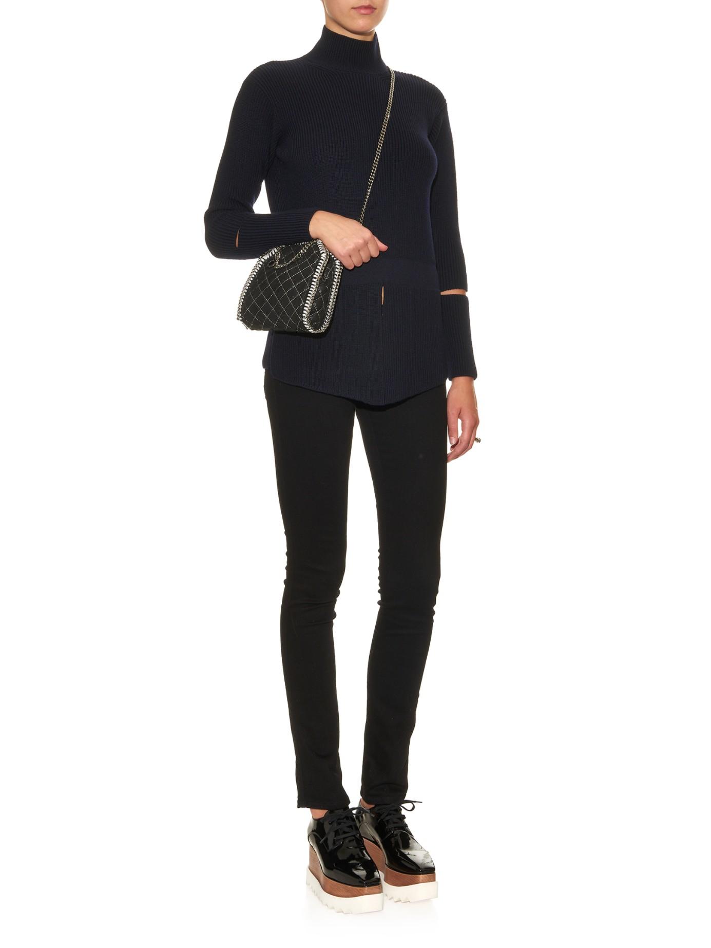 8dd1db373b39 Lyst - Stella McCartney Falabella Tiny Quilted Cross-body Bag in Black
