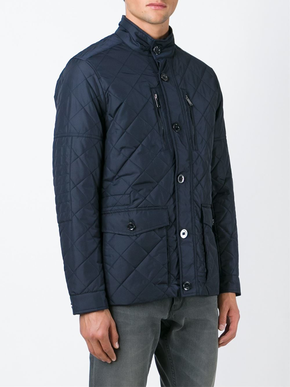 Michael kors Quilted Jacket in Blue for Men | Lyst