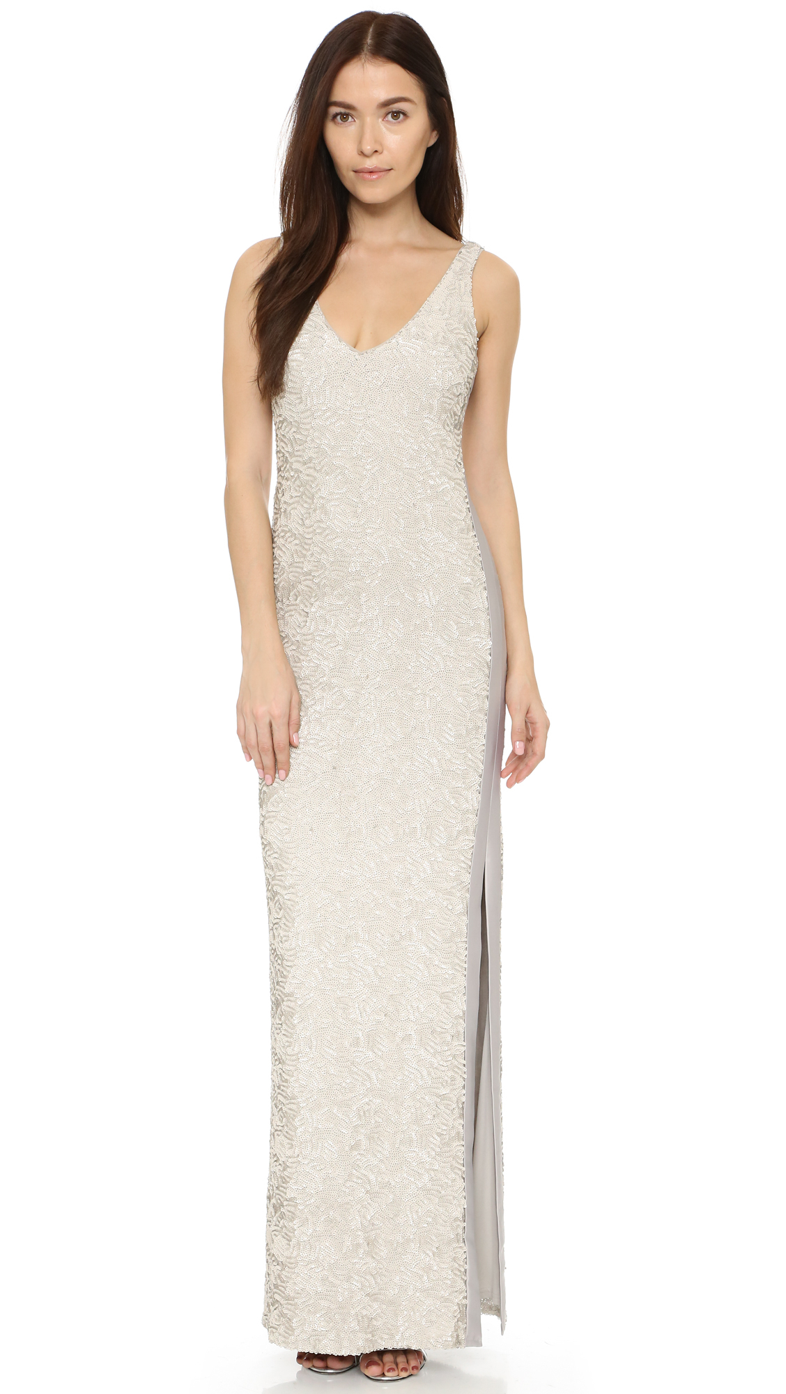 Lyst - Halston Sequined Gown With Side Slit in Natural