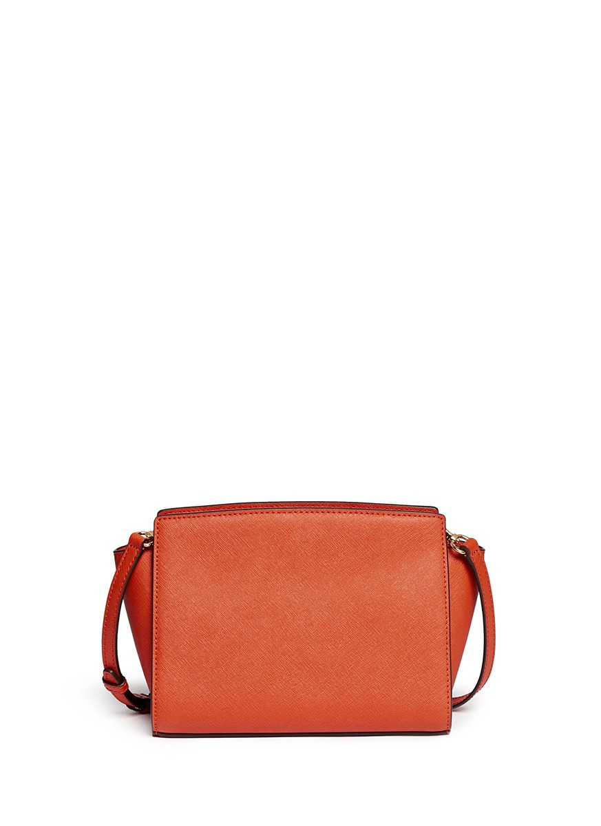 michael michael kors selma small saffiano leather satchel in orange. Black Bedroom Furniture Sets. Home Design Ideas