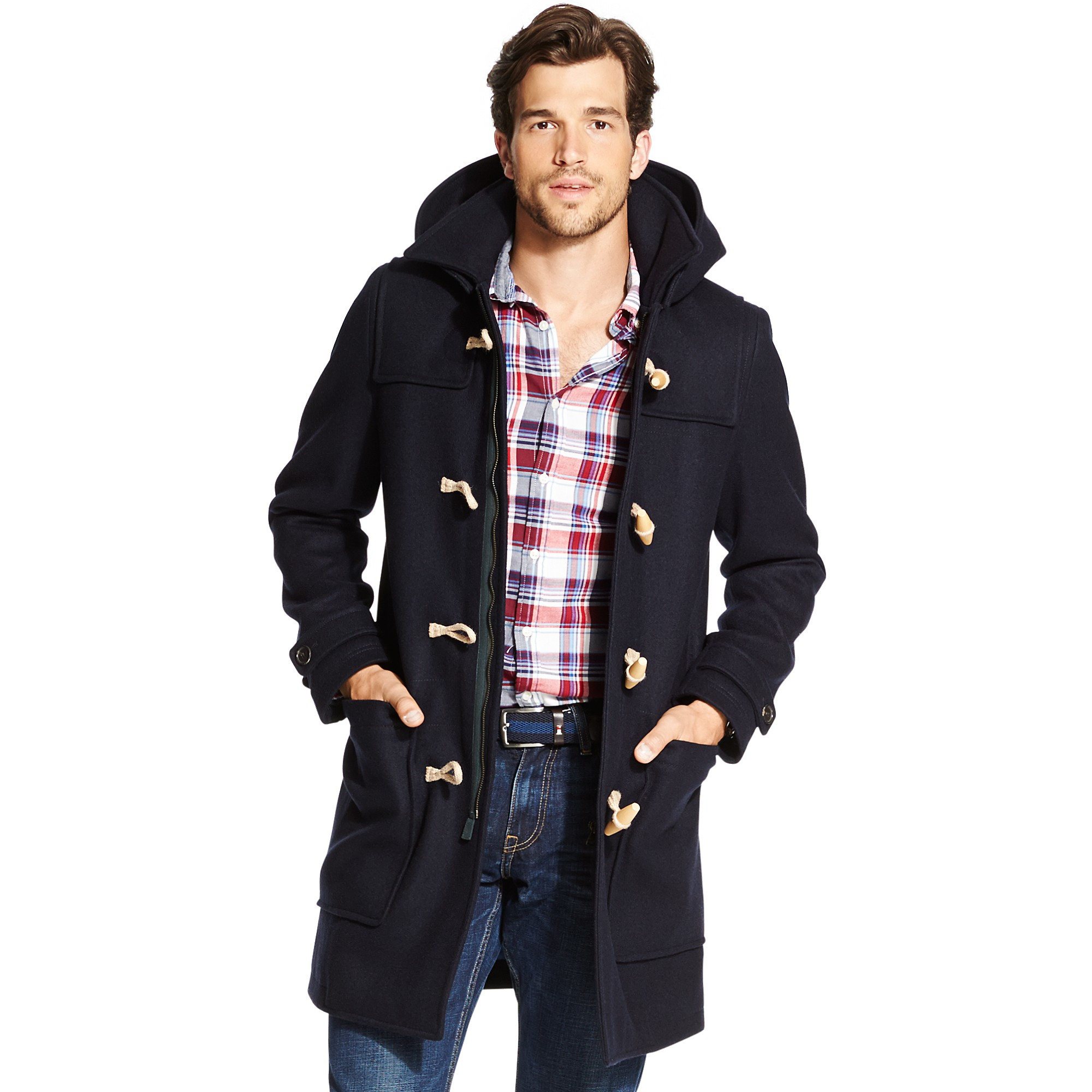 tommy hilfiger classic duffle coat in blue for men midnight lyst. Black Bedroom Furniture Sets. Home Design Ideas