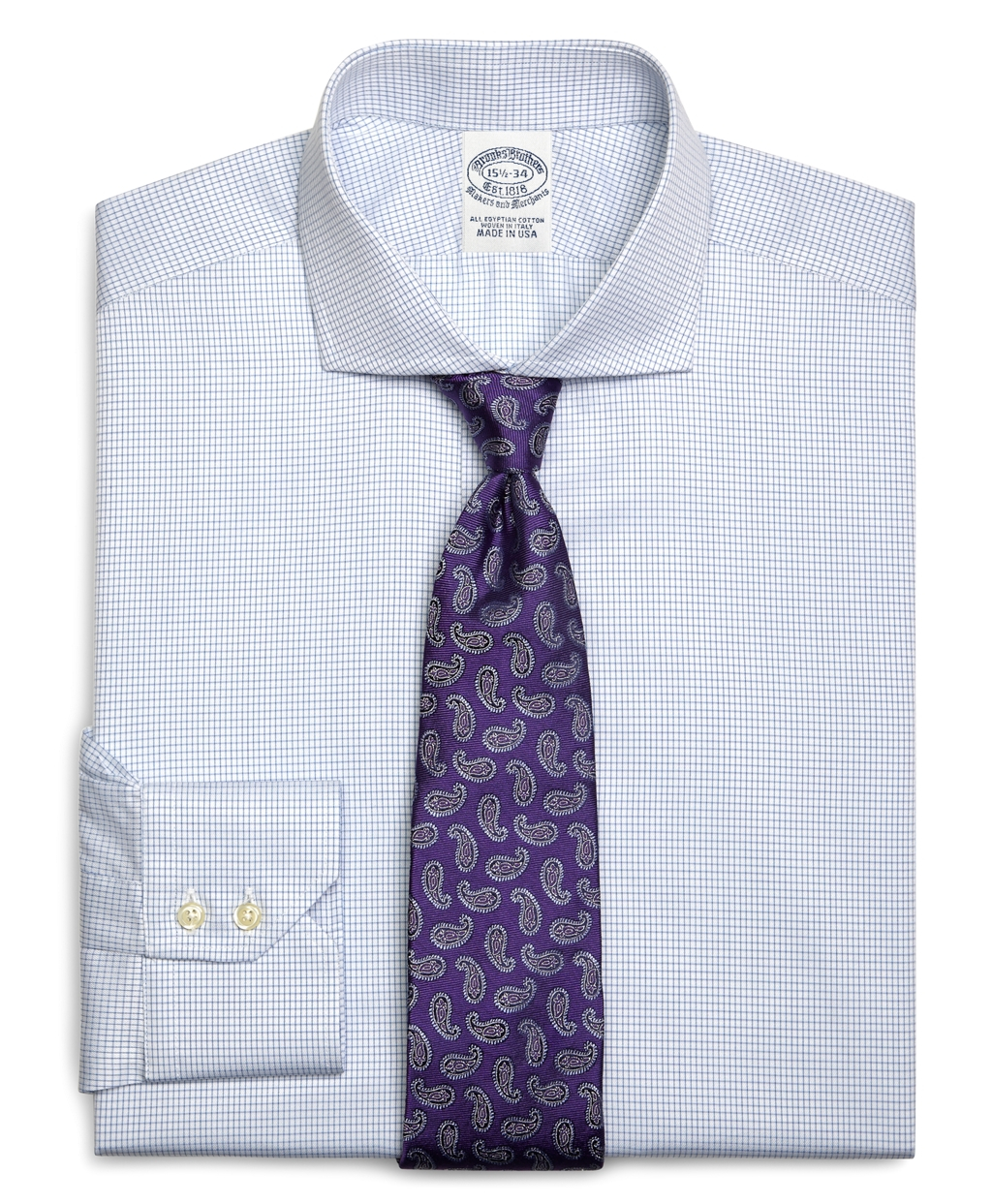 Brooks brothers egyptian cotton extraslim fit spread for Small collar dress shirt