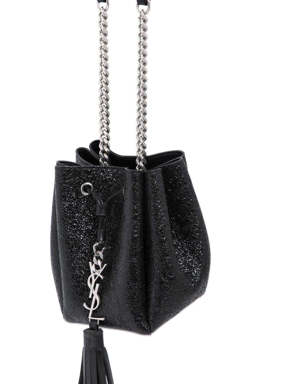 842f4fcc97 Saint Laurent Ysl Crackled Patent Leather Bucket Bag in Black - Lyst
