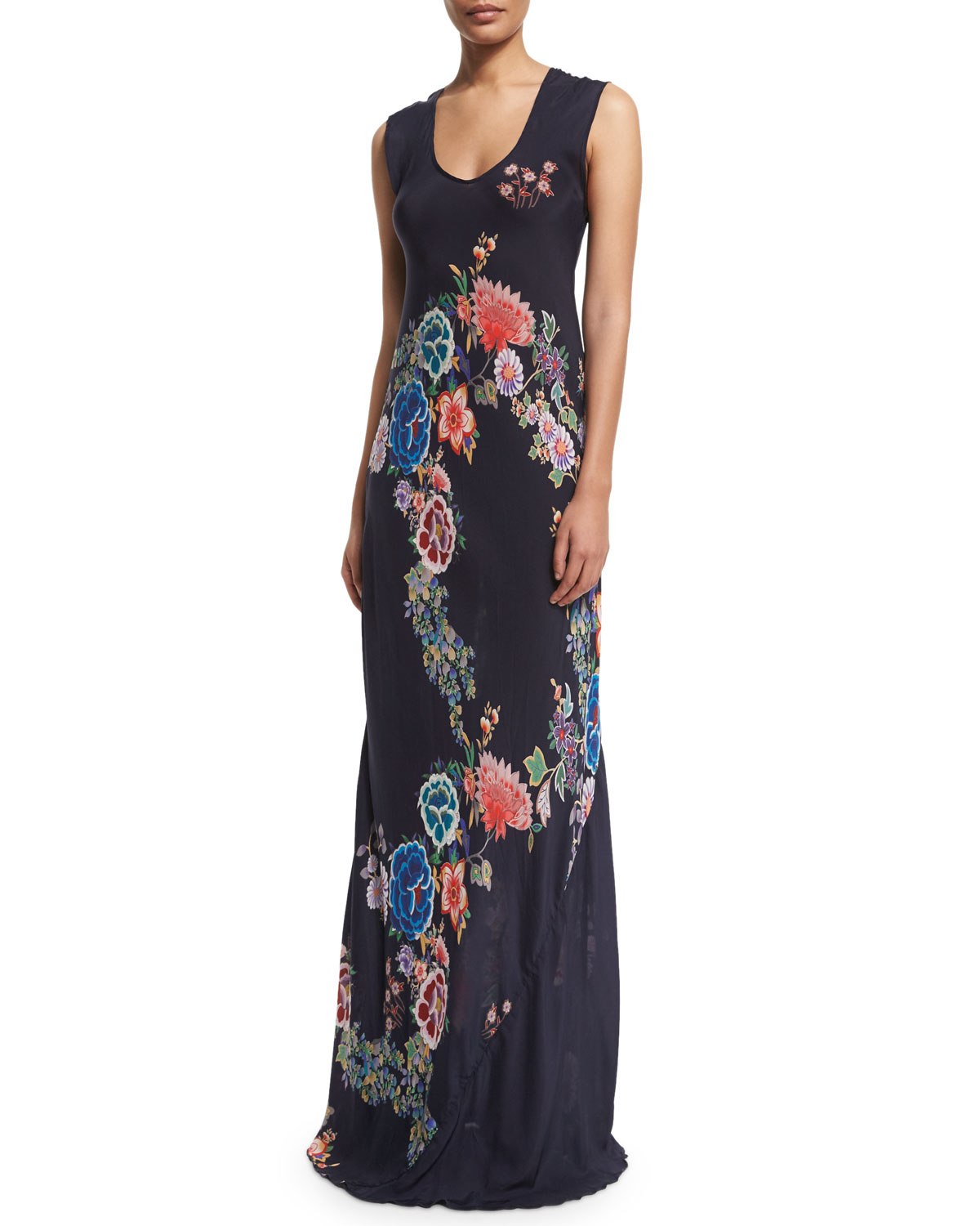 Johnny was Augustine Sleeveless Floral-print Maxi Dress - Lyst