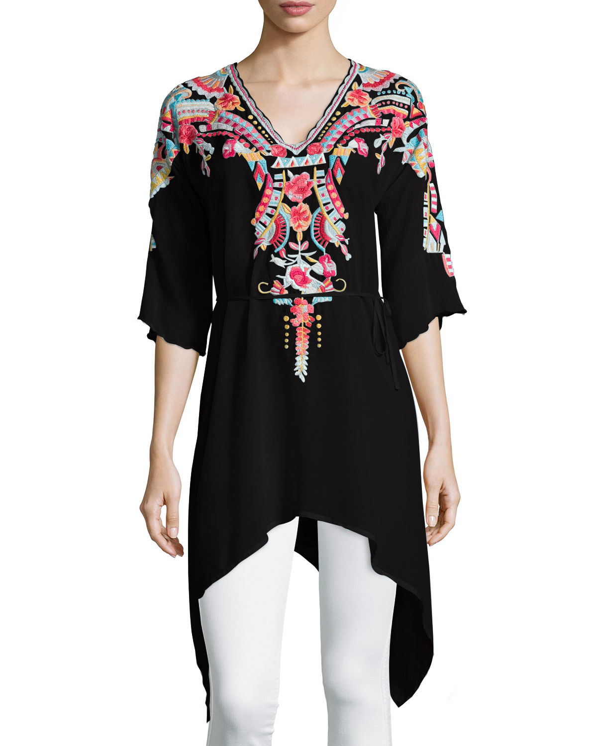 Lyst - Johnny Was Cleopatra Embroidered Asymmetric Tunic ...