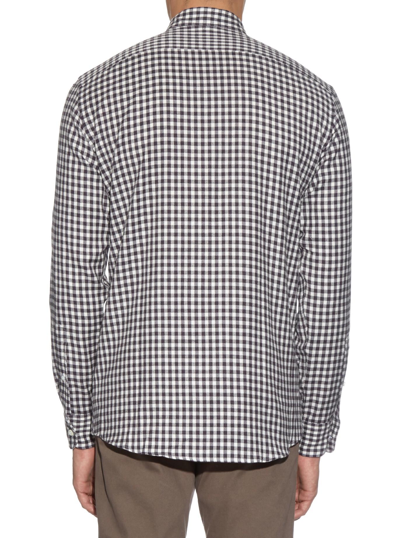 Ermenegildo zegna checked cotton flannel shirt in purple for Purple and white checked shirt