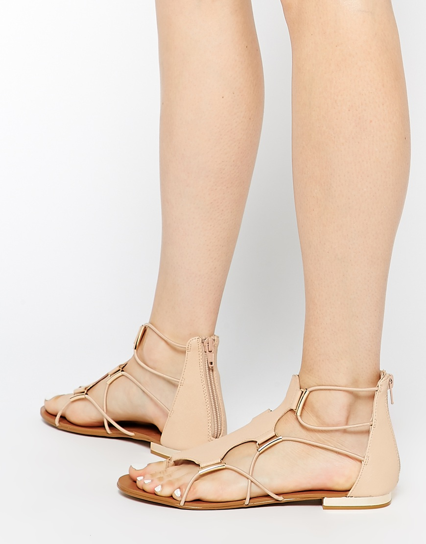 4df8afe9c39 Lyst - ALDO Zeanna Nude Gladiator Flat Sandals in Natural
