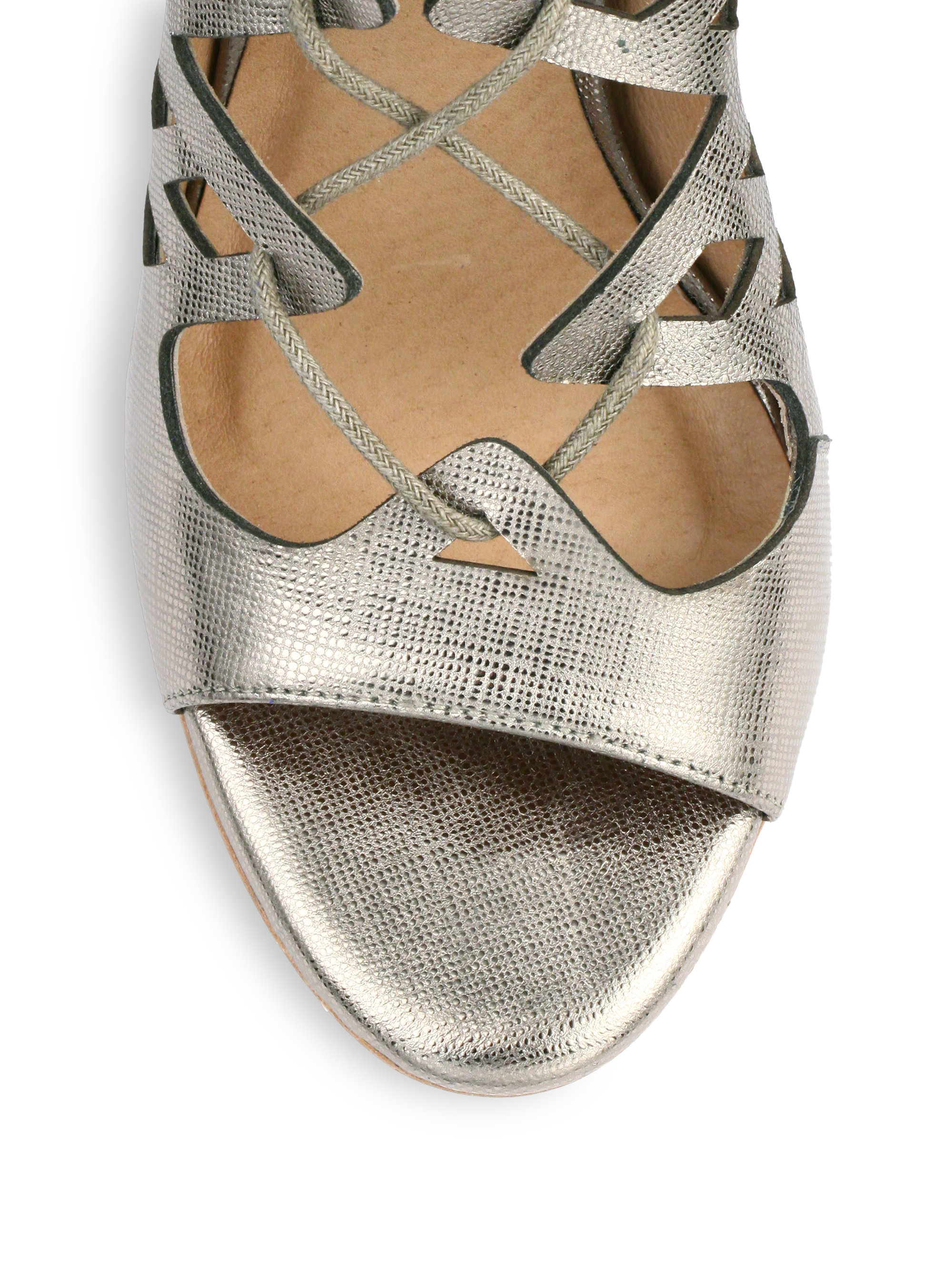 c0d8a79fc050 Lyst - Joie Quinn Metallic Leather Lace-up Sandals in Metallic