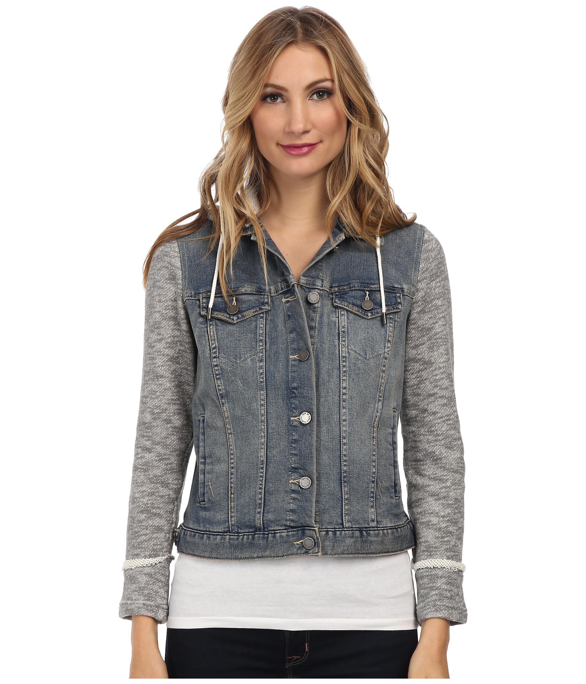 1f08b8ea99 Lyst - Two By Vince Camuto French Terry Hooded Denim Jacket in Blue