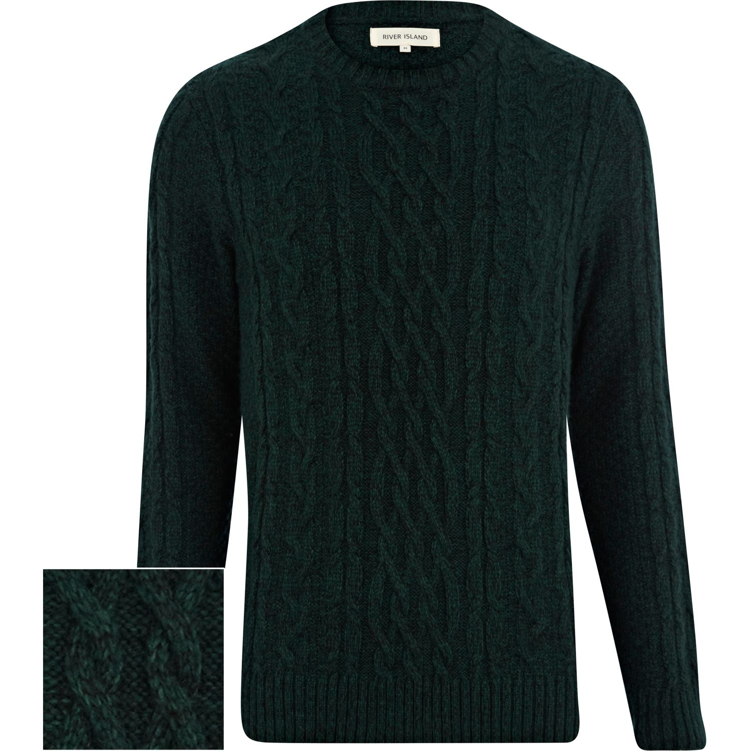 b6a71148408 River Island Dark Green Cable Knit Sweater for men